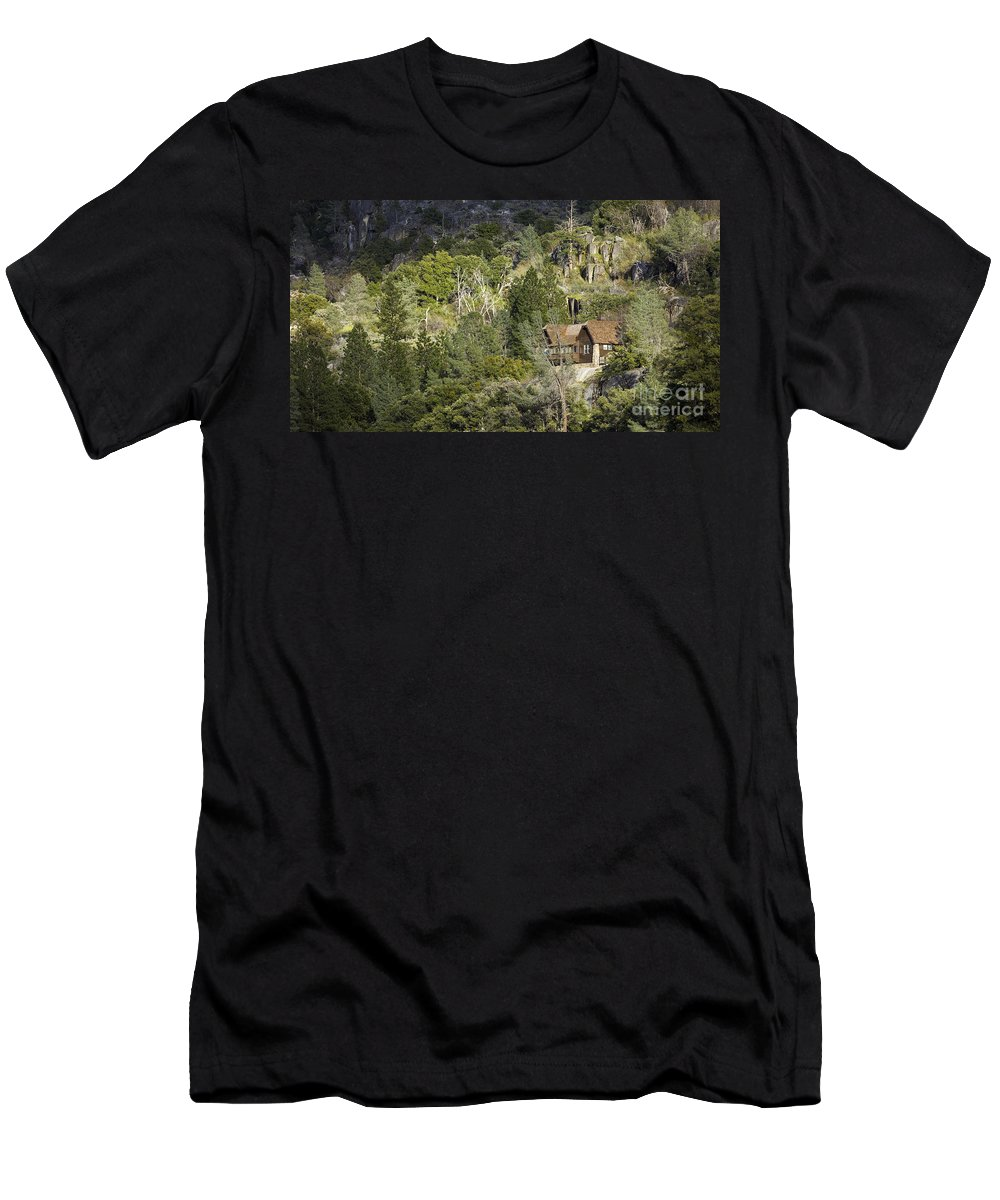 Mountain Cabin Men's T-Shirt (Athletic Fit) featuring the photograph Mountain Cabin - Sierra Nevadas, California Usa by B Christopher