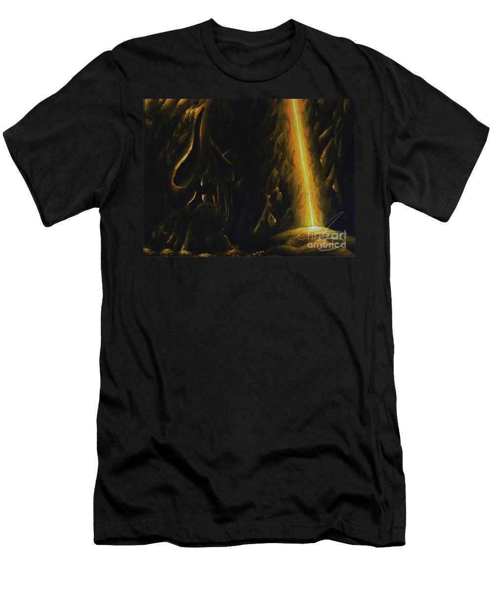 Mountain Men's T-Shirt (Athletic Fit) featuring the painting Mountain Cave by Alisa Bogodarova