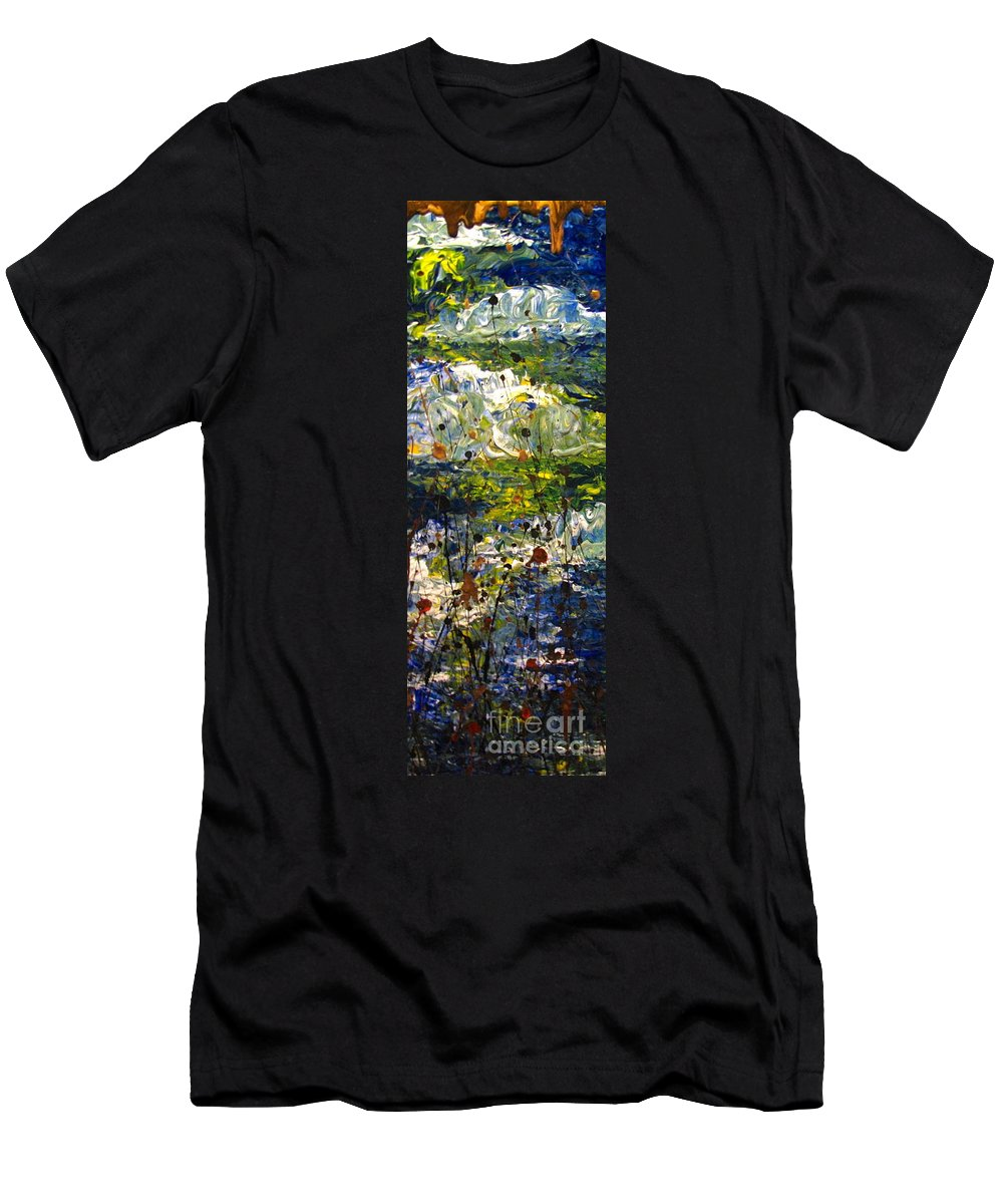 Water Men's T-Shirt (Athletic Fit) featuring the painting Mountain Creek by Jacqueline Athmann