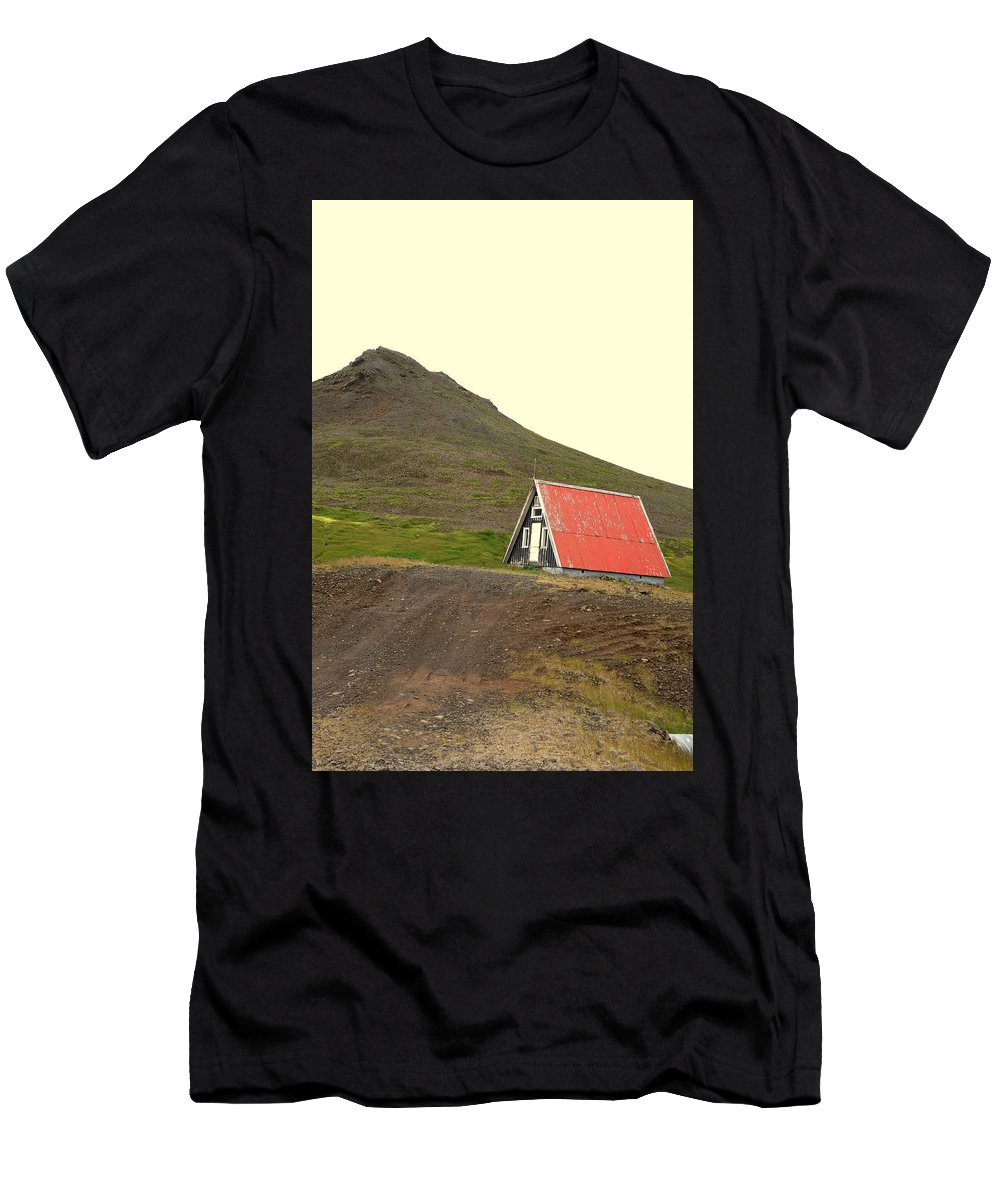 Mountain Men's T-Shirt (Athletic Fit) featuring the photograph We Will Live Together In A Humble Mountain Hut by Hilde Widerberg