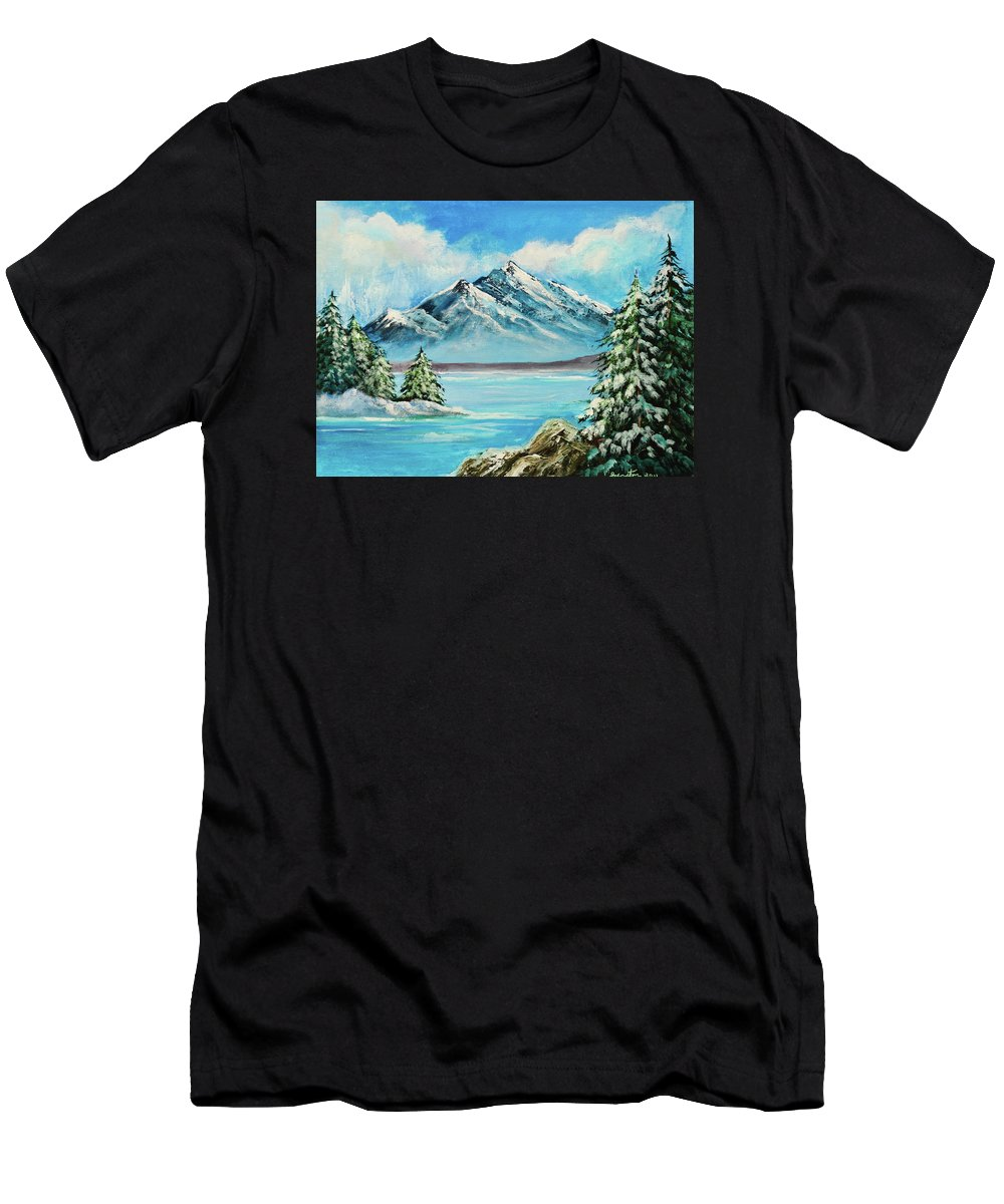 Art Men's T-Shirt (Athletic Fit) featuring the painting Mountain Lake In Winter Original Painting Forsale by Bob and Nadine Johnston