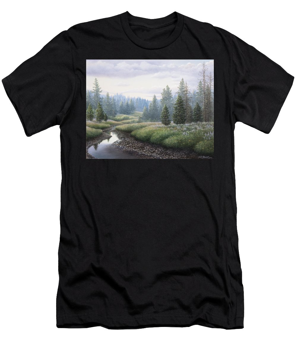 Meadow Men's T-Shirt (Athletic Fit) featuring the painting Mountain Meadow by Mike Stinnett