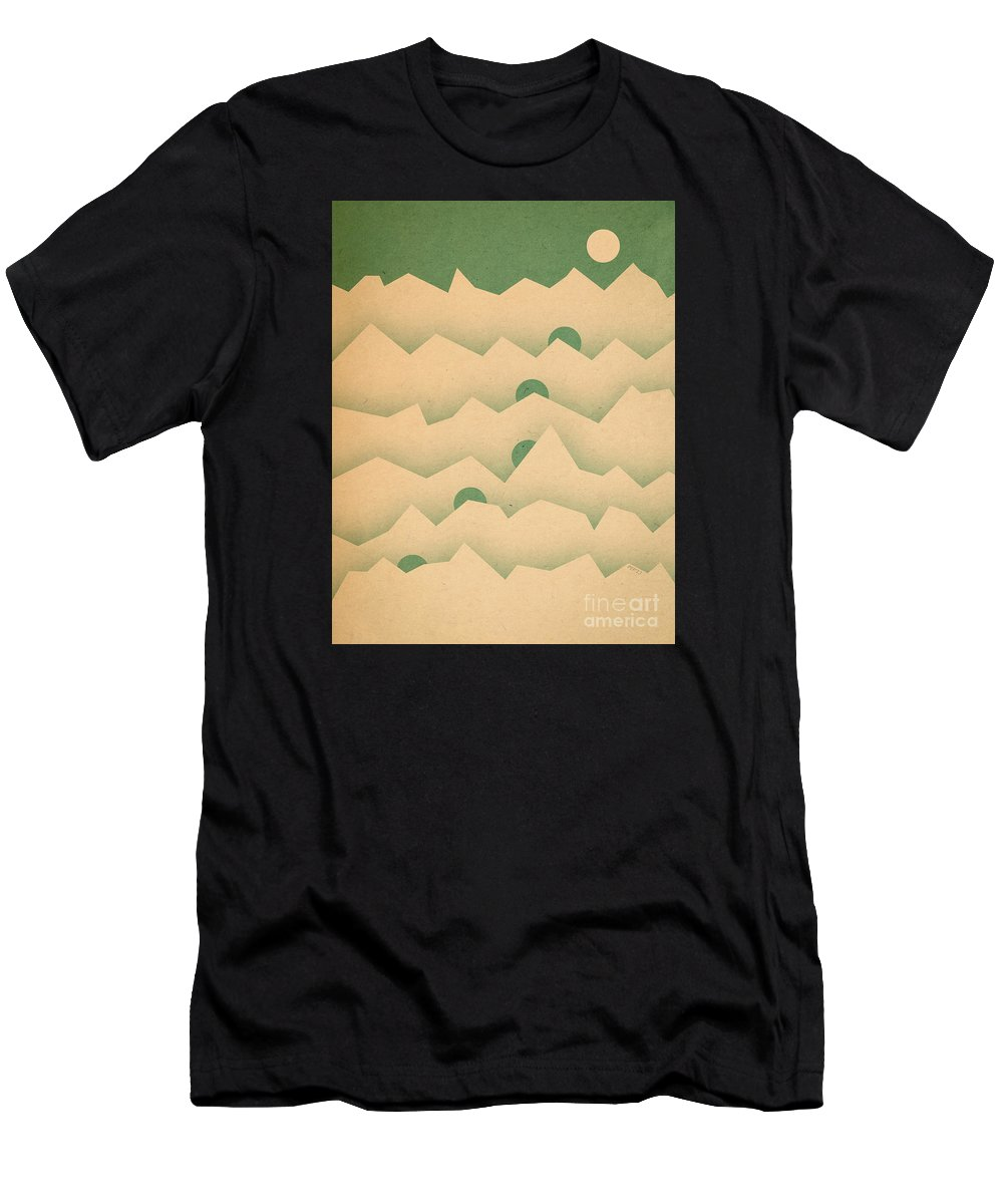 Mountains Men's T-Shirt (Athletic Fit) featuring the digital art Mountain Moon Rising by Phil Perkins