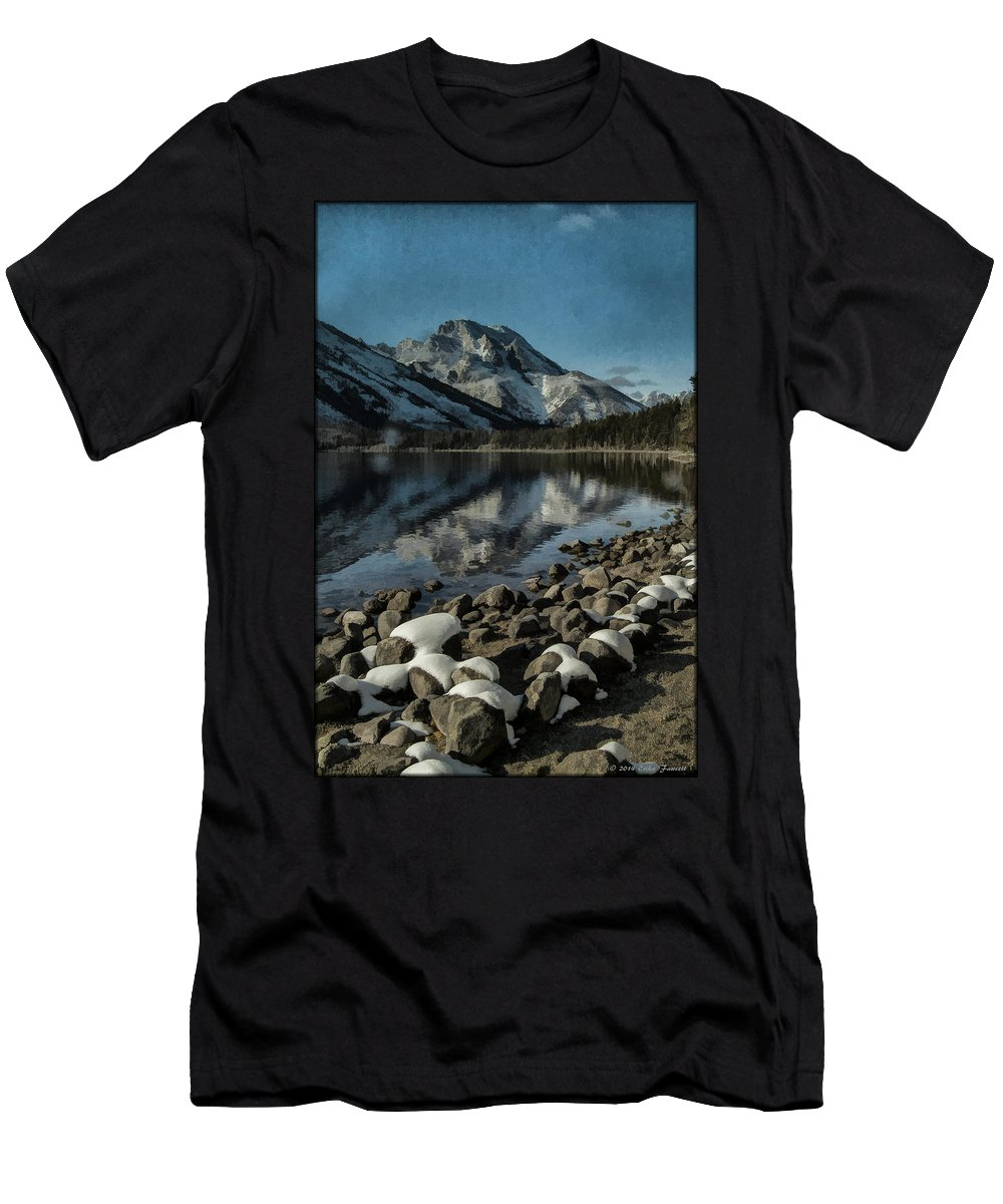 Lake Men's T-Shirt (Athletic Fit) featuring the photograph Mountain Reflection by Erika Fawcett
