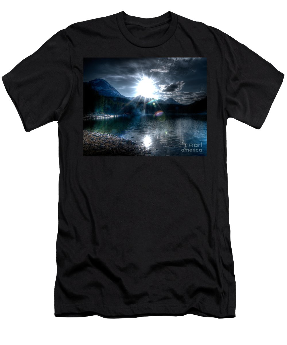 Mountain Sunset Men's T-Shirt (Athletic Fit) featuring the photograph Mountain Sunset by Frank Welder