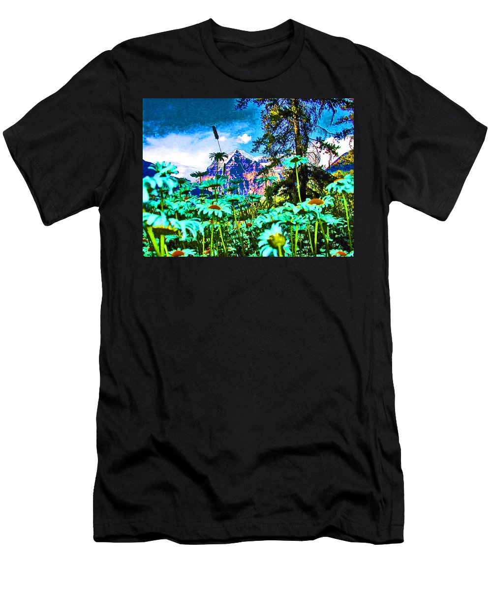 Expressive Men's T-Shirt (Athletic Fit) featuring the photograph Mountains Hiding Behind Flowers by Lenore Senior