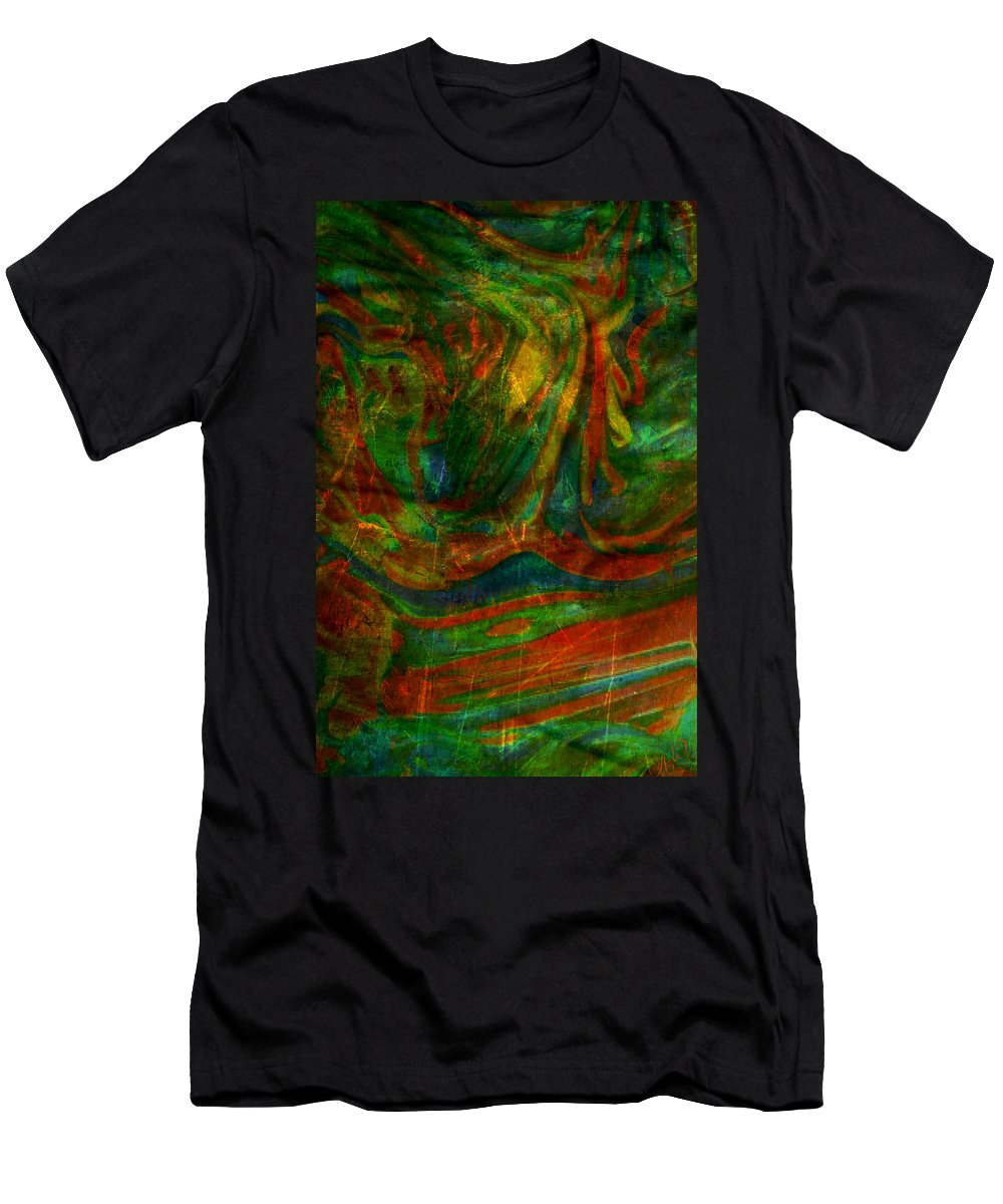 Abstract Men's T-Shirt (Athletic Fit) featuring the mixed media Mountains In The Rain by Ally White
