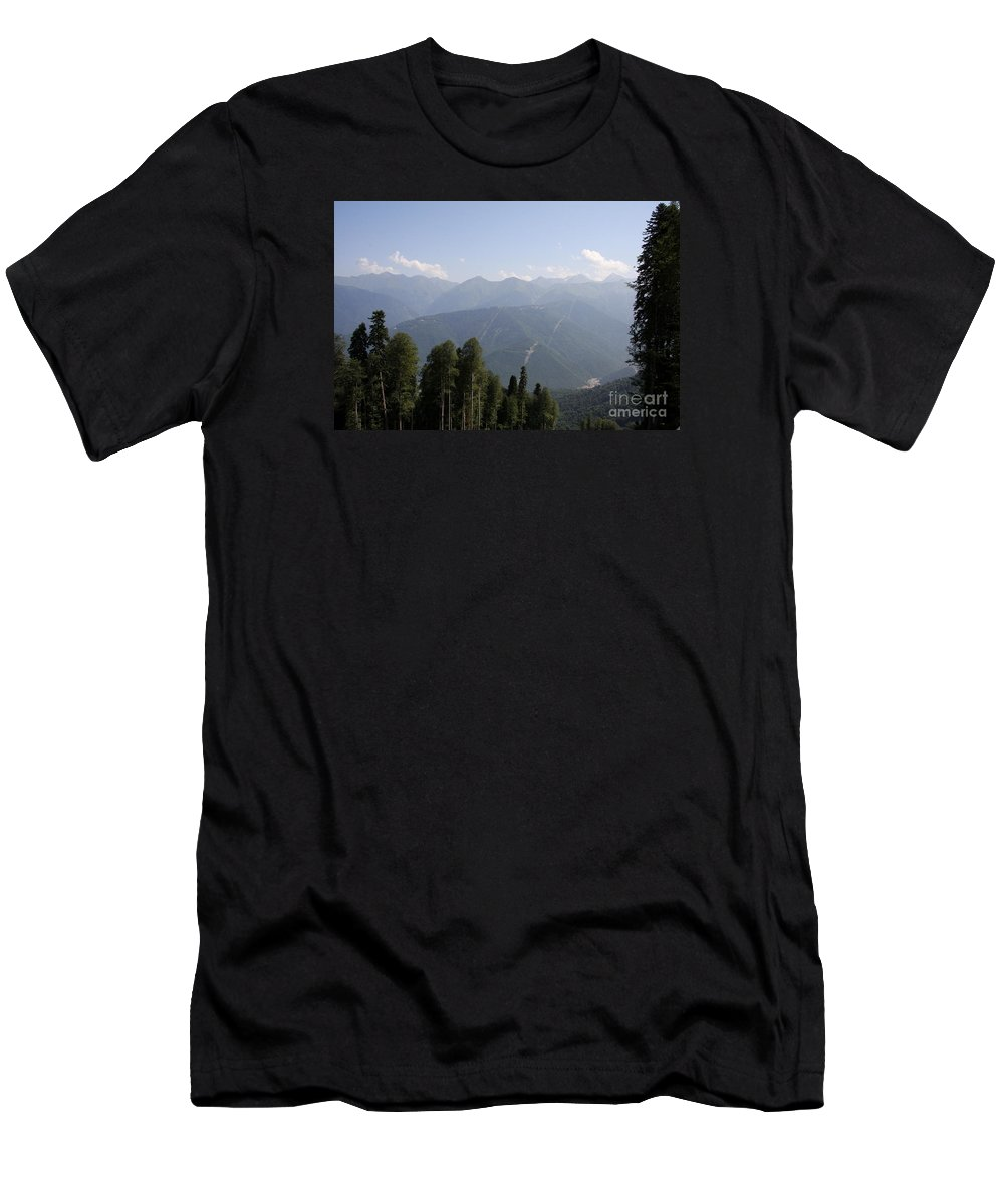 Mountain Men's T-Shirt (Athletic Fit) featuring the photograph Mountainview Krasnaya Polyana by Christiane Schulze Art And Photography