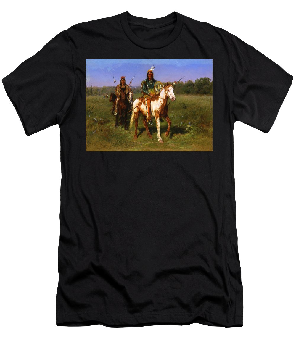 Rosa Bonheur Men's T-Shirt (Athletic Fit) featuring the painting Mounted Indians Carrying Spears by Rosa Bonheur