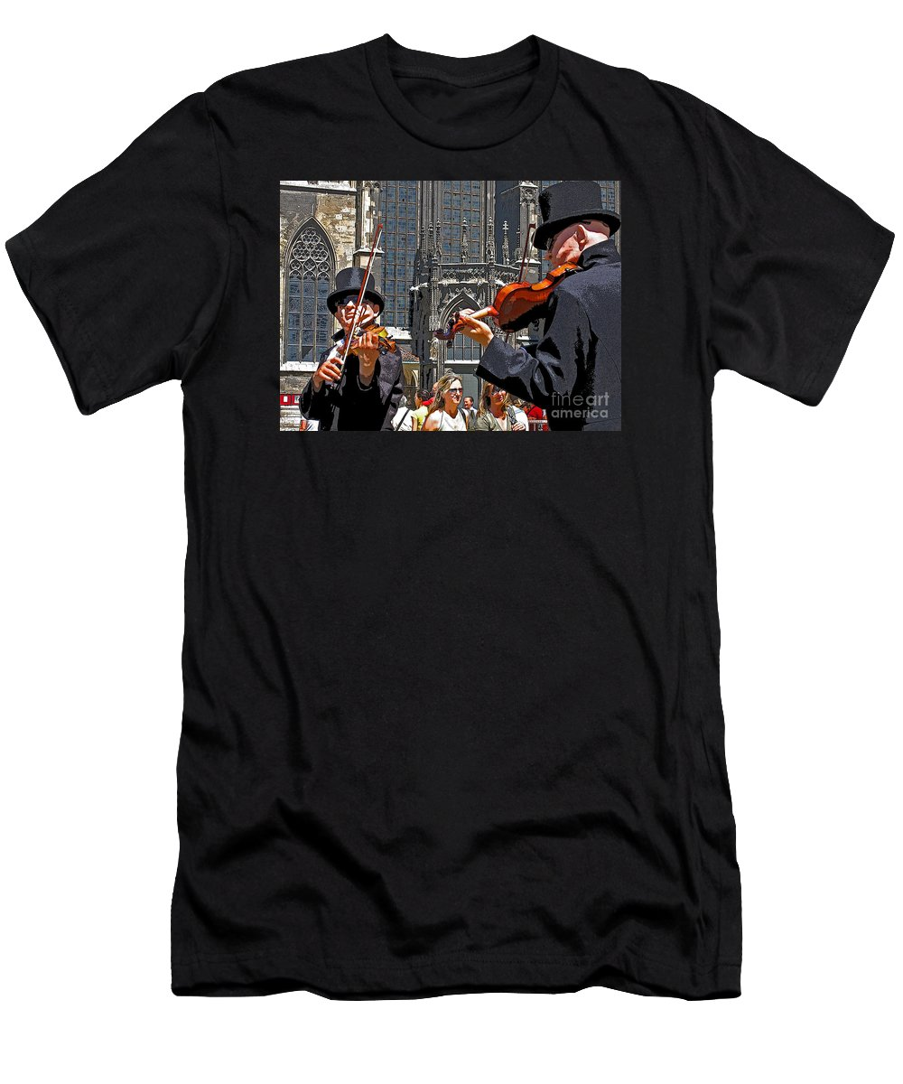 Buskers Men's T-Shirt (Athletic Fit) featuring the photograph Mozart In Masquerade by Ann Horn