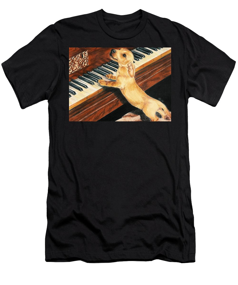 Purebred Dog T-Shirt featuring the drawing Mozart's Apprentice by Barbara Keith