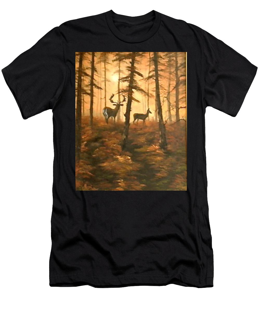 Cannock Chase Men's T-Shirt (Athletic Fit) featuring the painting Mr And Mrs by Jean Walker