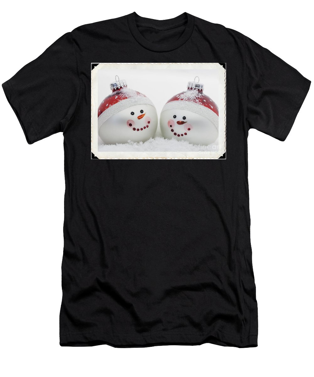 Celebrate Men's T-Shirt (Athletic Fit) featuring the photograph Mr. And Mrs. Snowman by Linda D Lester