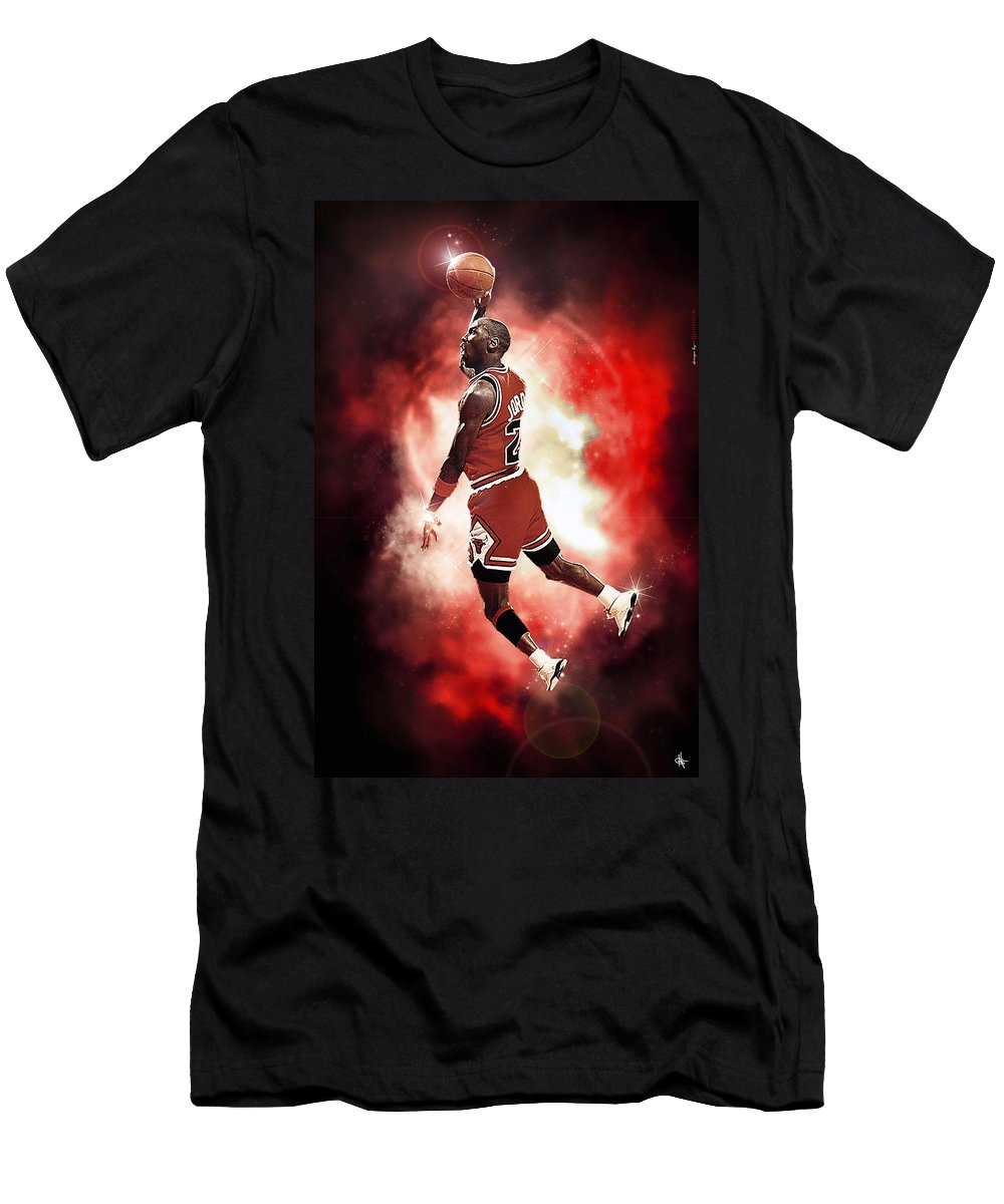 Mr. Michael Jeffrey Jordan Men's T-Shirt (Athletic Fit) featuring the photograph Mr. Michael Jeffrey Jordan Aka Air Jordan Mj by Nicholas Grunas