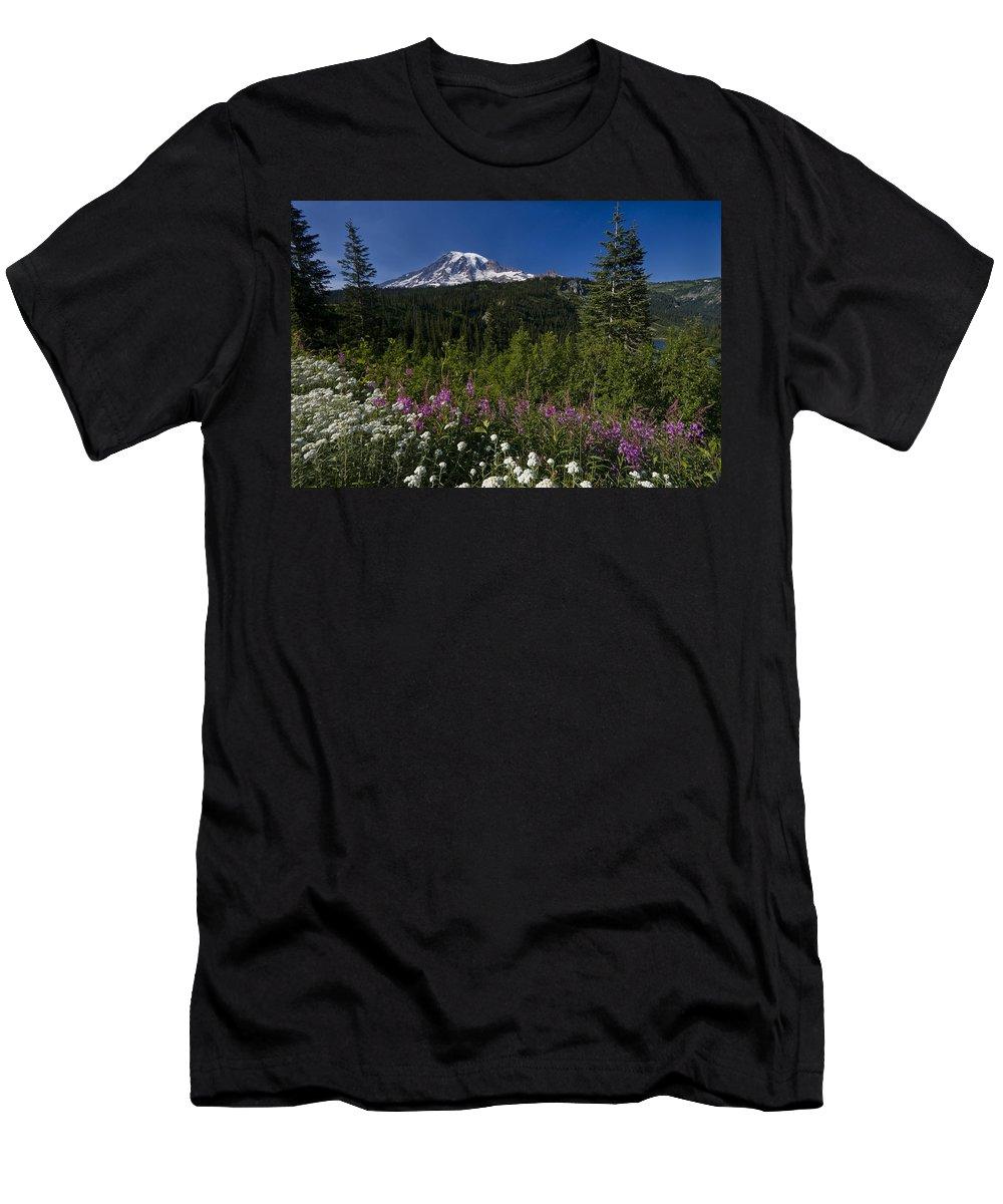 3scape Men's T-Shirt (Athletic Fit) featuring the photograph Mt. Rainier by Adam Romanowicz