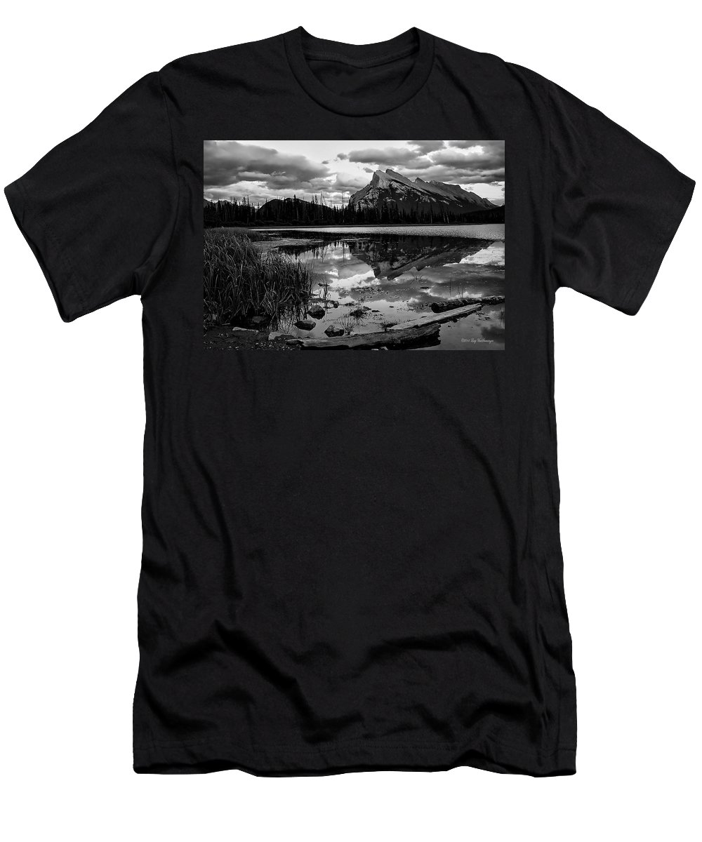 Banff Canvas Print Photograph T-Shirt featuring the photograph Mt. Rundle Reflection by Lucy VanSwearingen