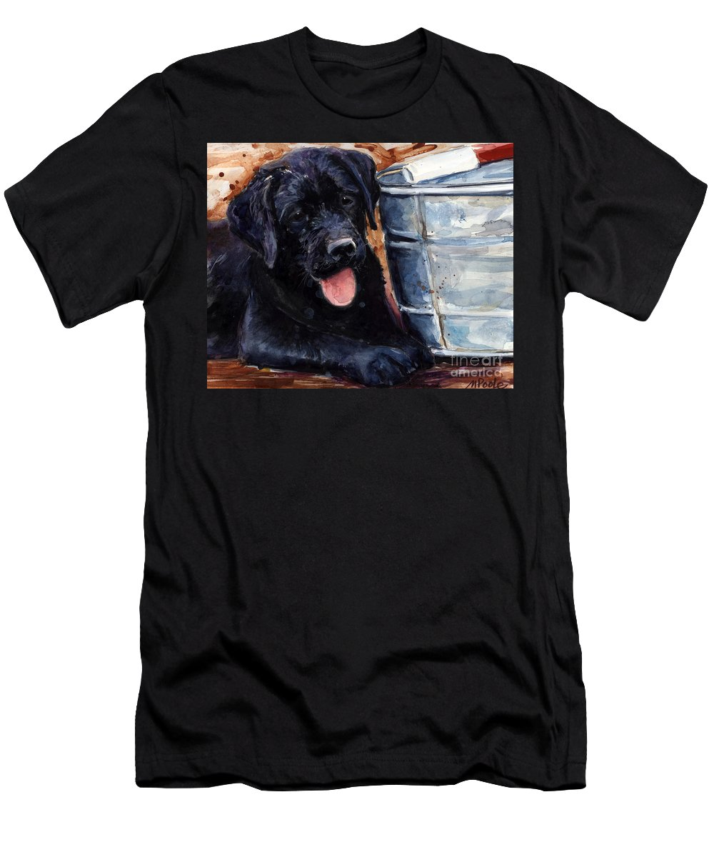 Labrador Retriever Men's T-Shirt (Athletic Fit) featuring the painting Mud Pies by Molly Poole