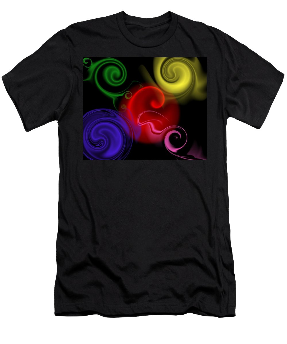 Swirl Men's T-Shirt (Athletic Fit) featuring the digital art Multicolor Swirl by Ron Hedges