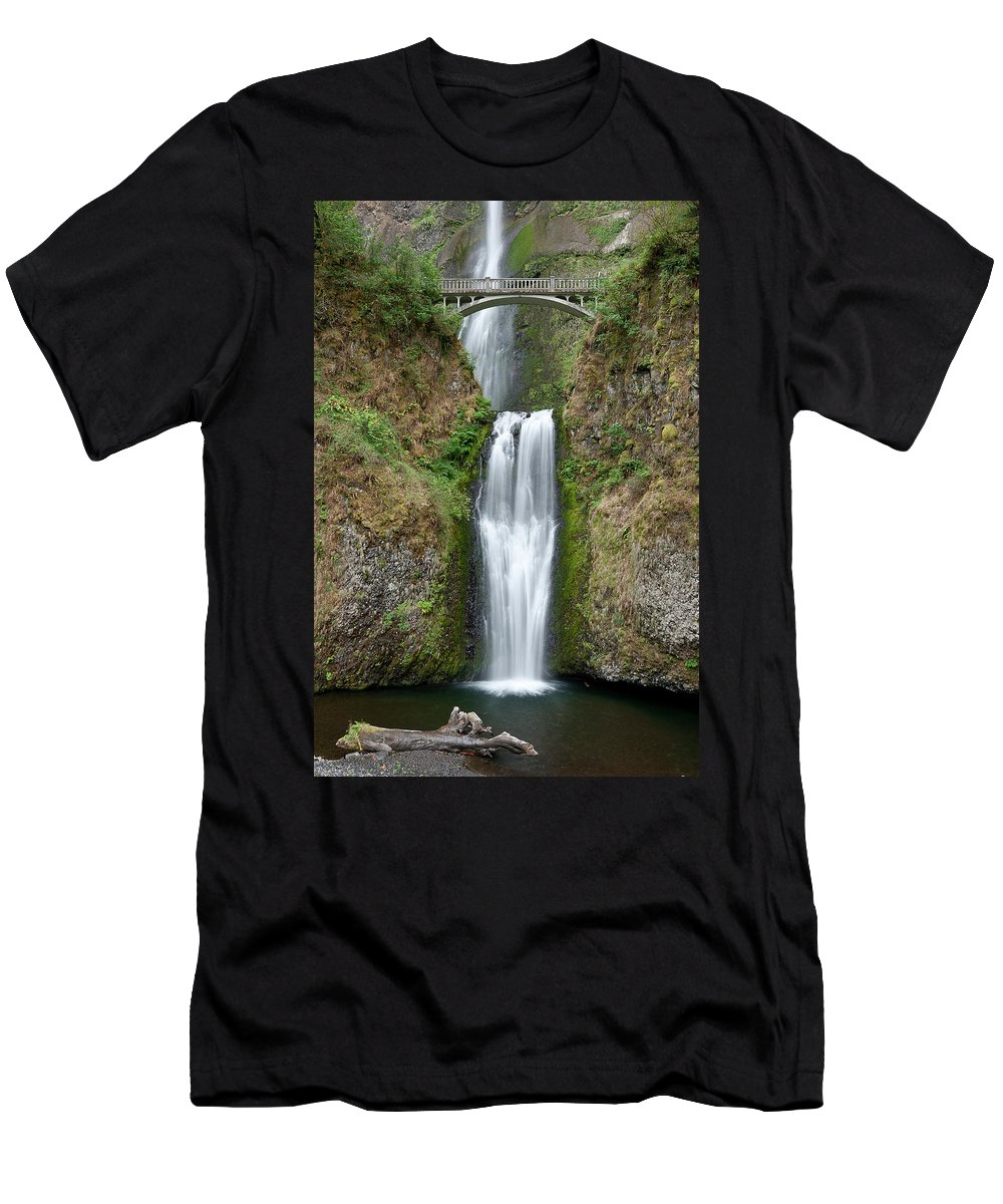 Multnomah Falls Men's T-Shirt (Athletic Fit) featuring the photograph Multnomah Falls by Greg Nyquist