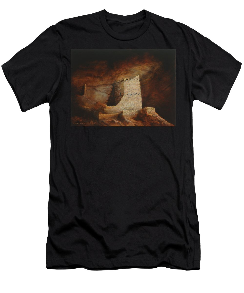 Anasazi Men's T-Shirt (Athletic Fit) featuring the painting Mummy Cave by Jerry McElroy