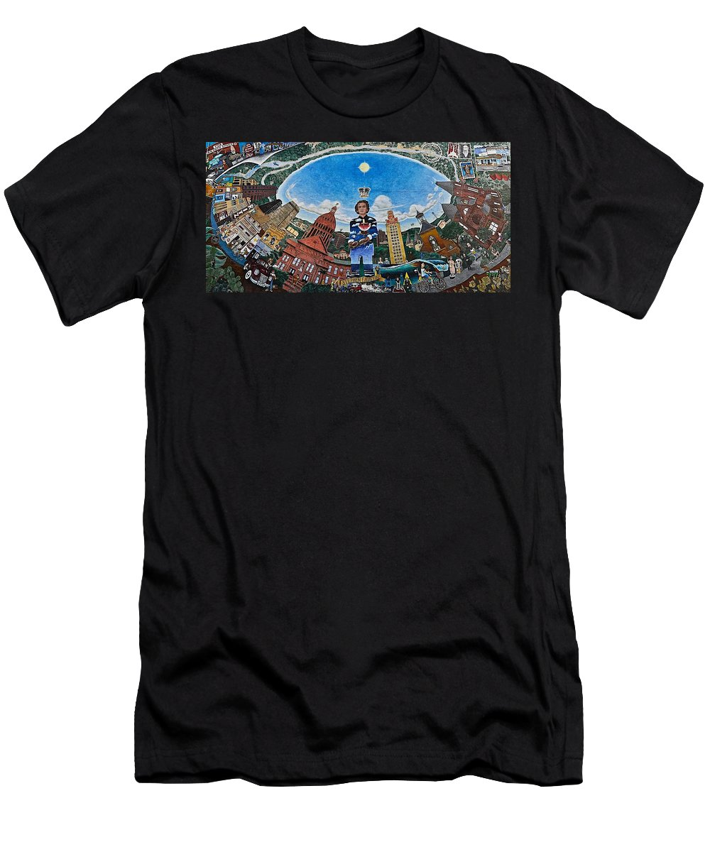 Stephen F Austin Mural Men's T-Shirt (Athletic Fit) featuring the photograph Mural Of Stephen F Austin Off Guadalupe by Kristina Deane