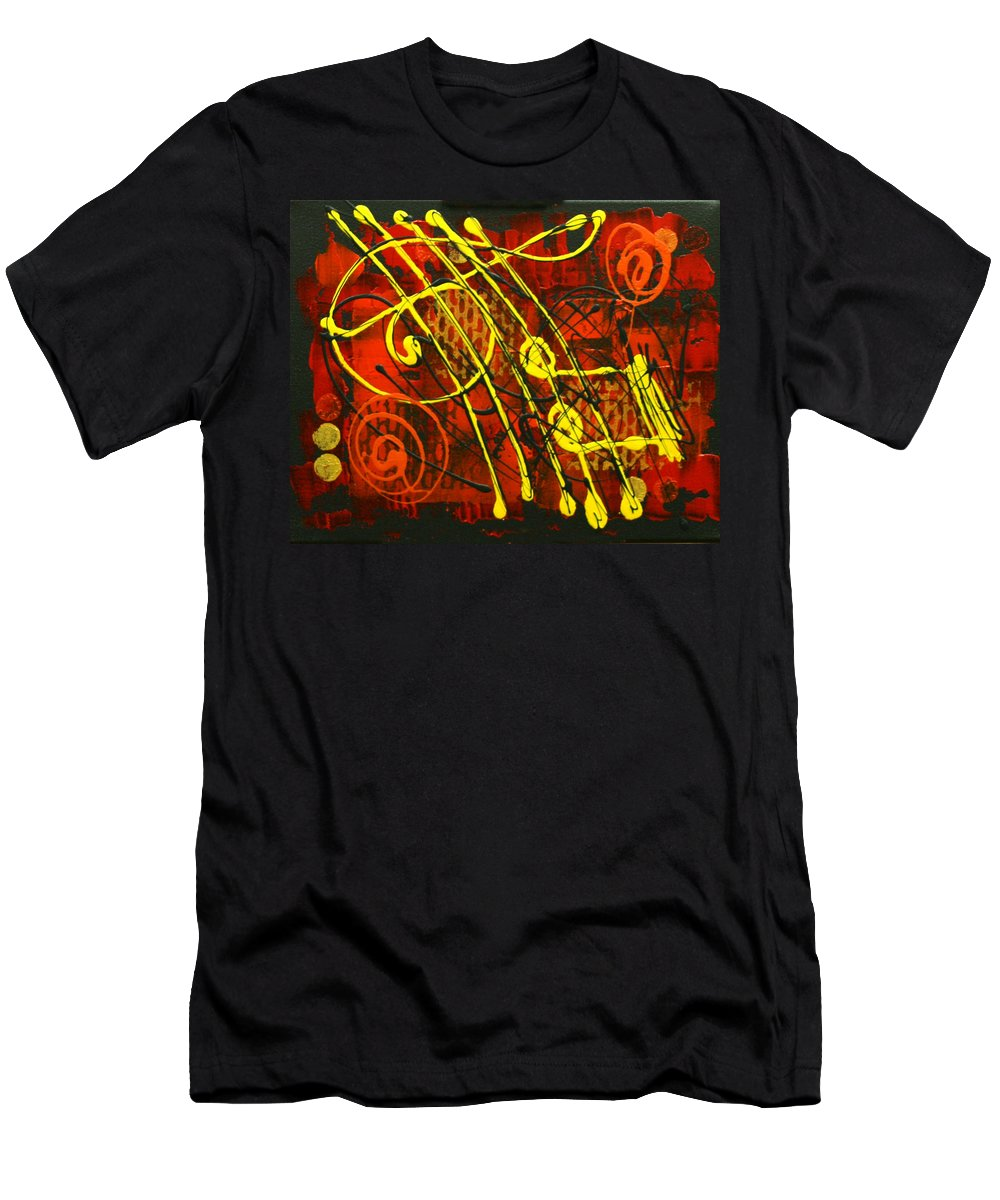 Paintings Paintings Men's T-Shirt (Athletic Fit) featuring the painting Music 3 by Leon Zernitsky