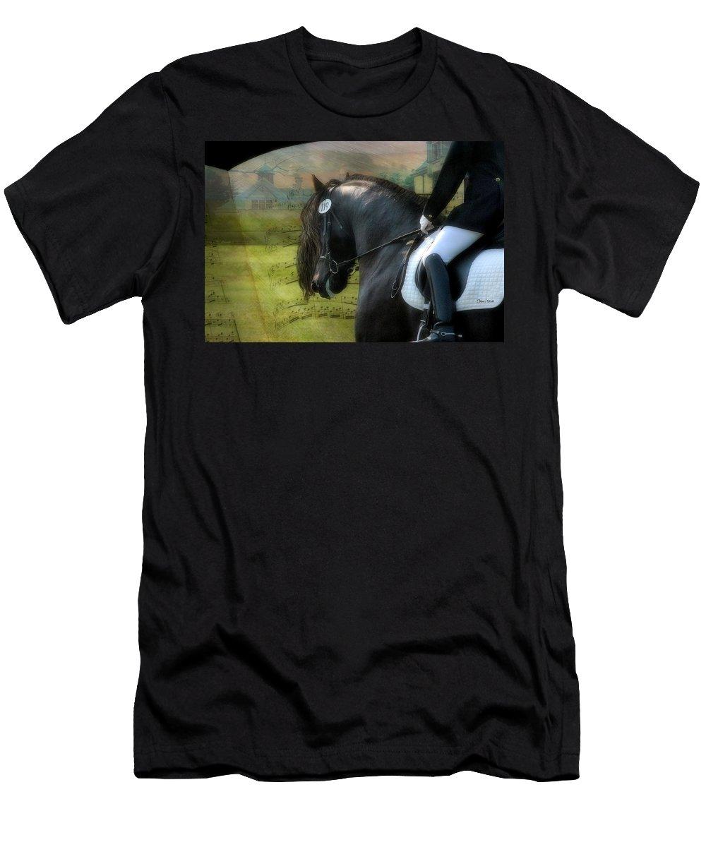 Friesian Horses T-Shirt featuring the digital art Musical Freestyle by Fran J Scott