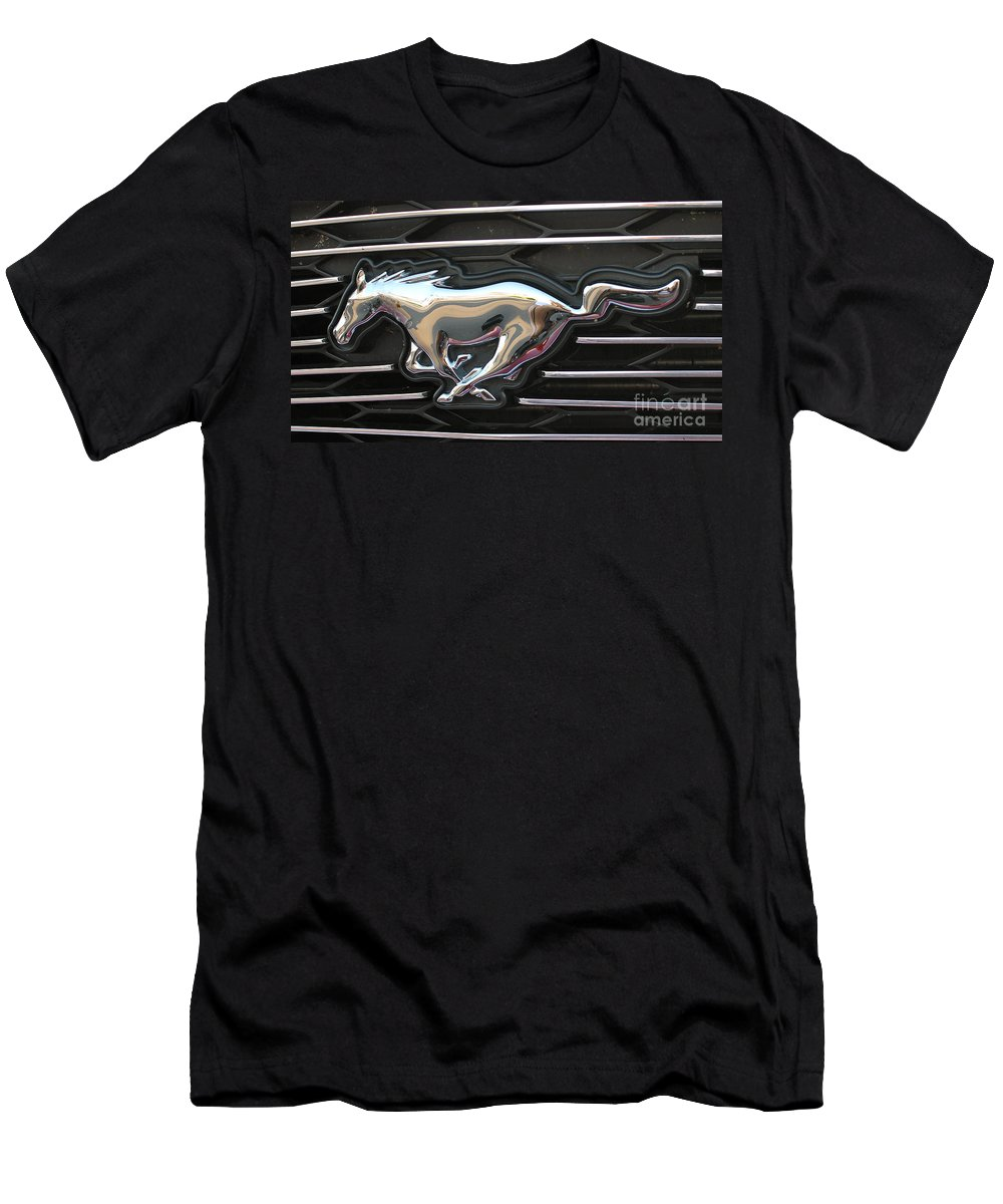 Mustang Men's T-Shirt (Athletic Fit) featuring the photograph Mustang Emblem by Pamela Walrath