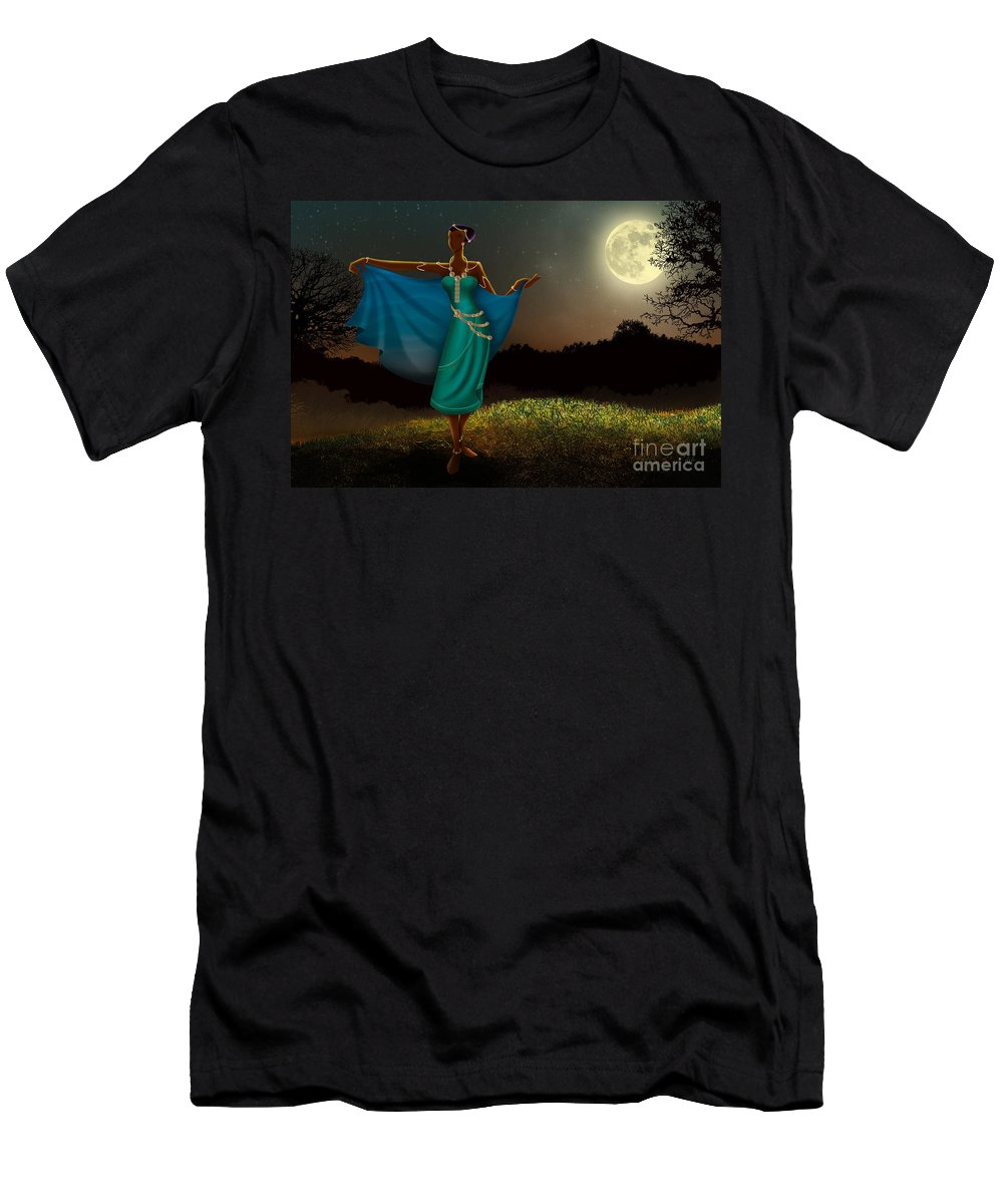 Mystic T-Shirt featuring the digital art Mystic Moonlight V1 by Peter Awax