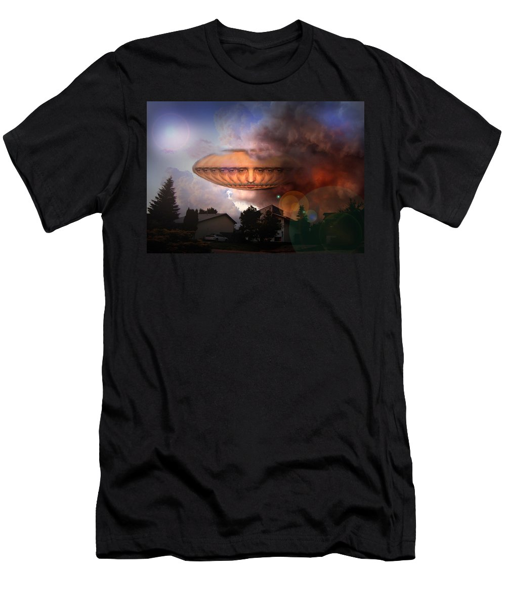 Surrealism Men's T-Shirt (Athletic Fit) featuring the digital art Mystic Ufo by Otto Rapp