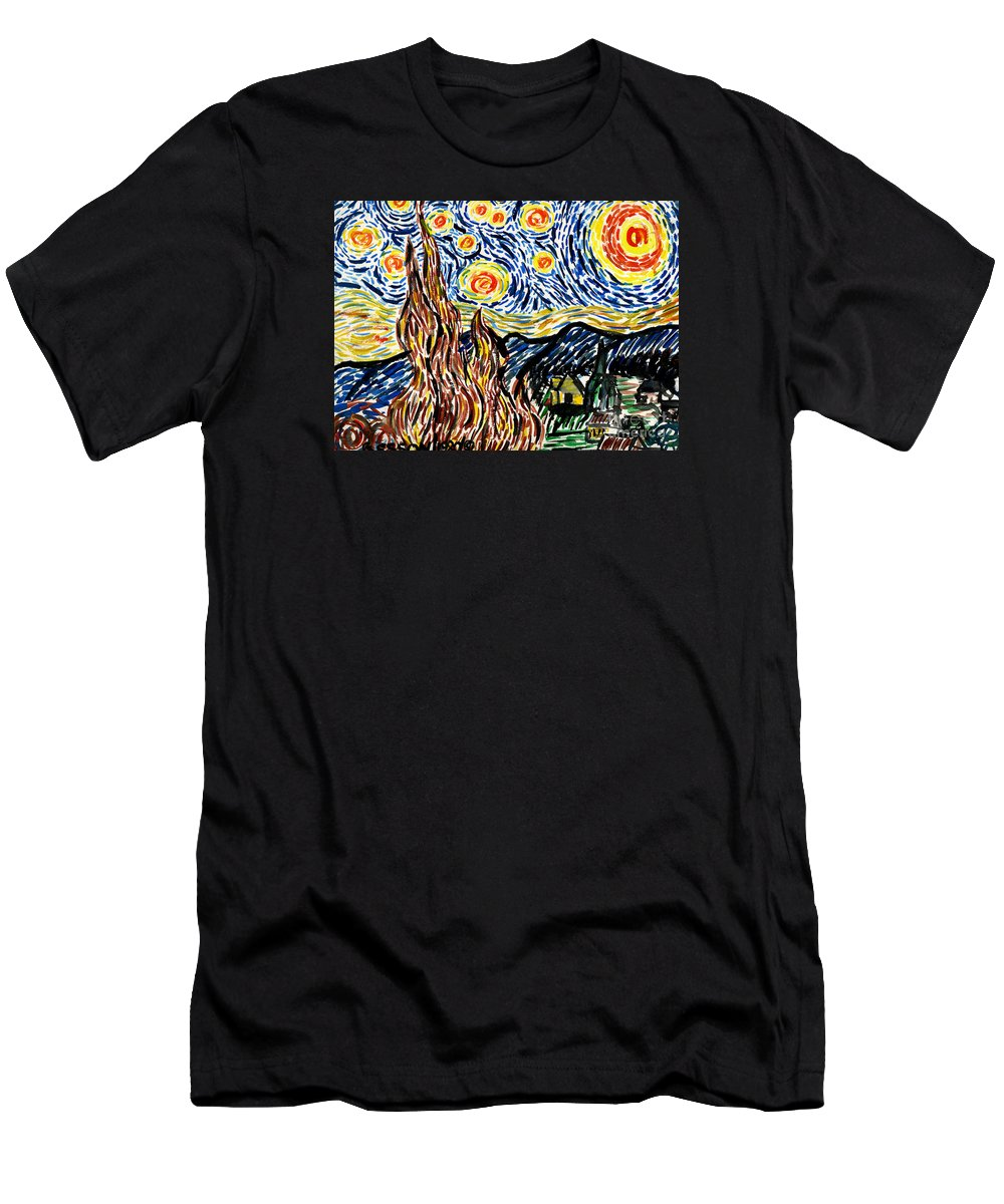 Starry Night Men's T-Shirt (Athletic Fit) featuring the painting Vincent Van Goghs Starry Night by Genevieve Esson