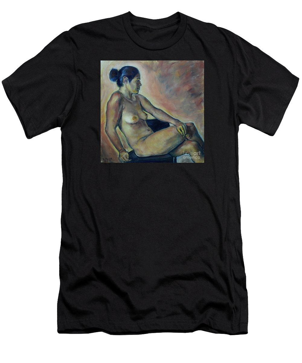 Oil Painting On Canvas Men's T-Shirt (Athletic Fit) featuring the painting Naked Suri 2 by Raija Merila