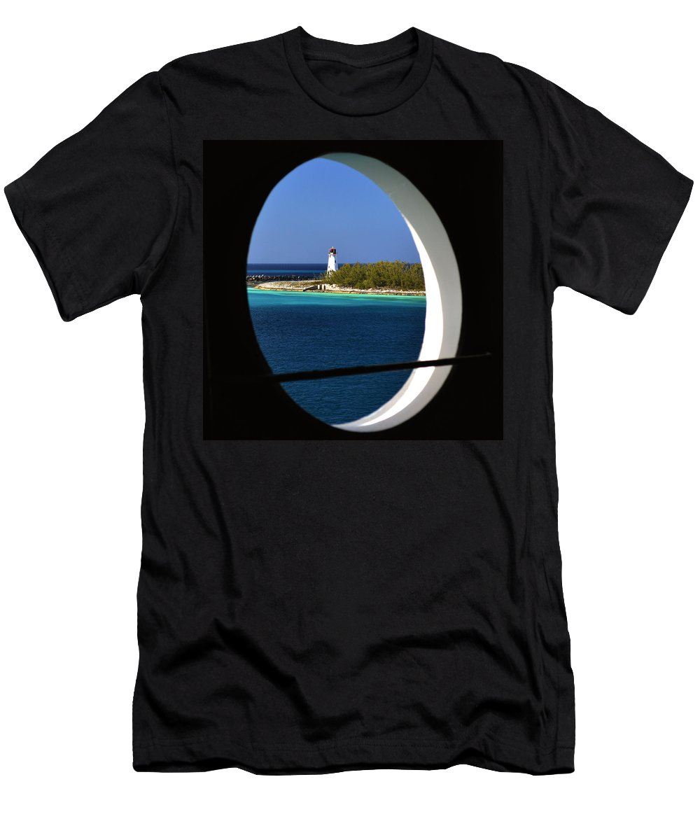 Nassau Lighthouse Men's T-Shirt (Athletic Fit) featuring the photograph Nassau Lighthouse Porthole View by Bill Swartwout Fine Art Photography