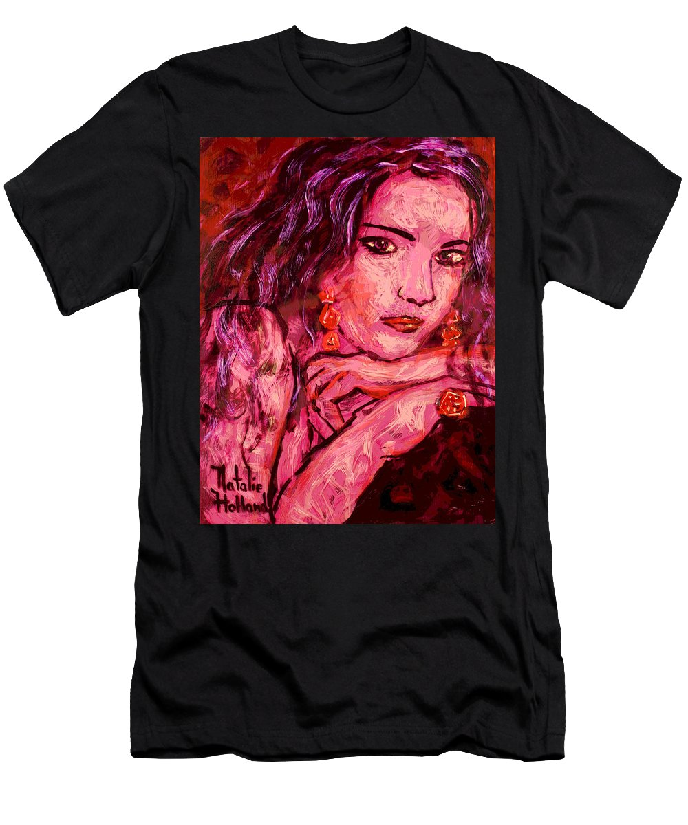 Portraits Men's T-Shirt (Athletic Fit) featuring the painting Natalie 1 by Natalie Holland