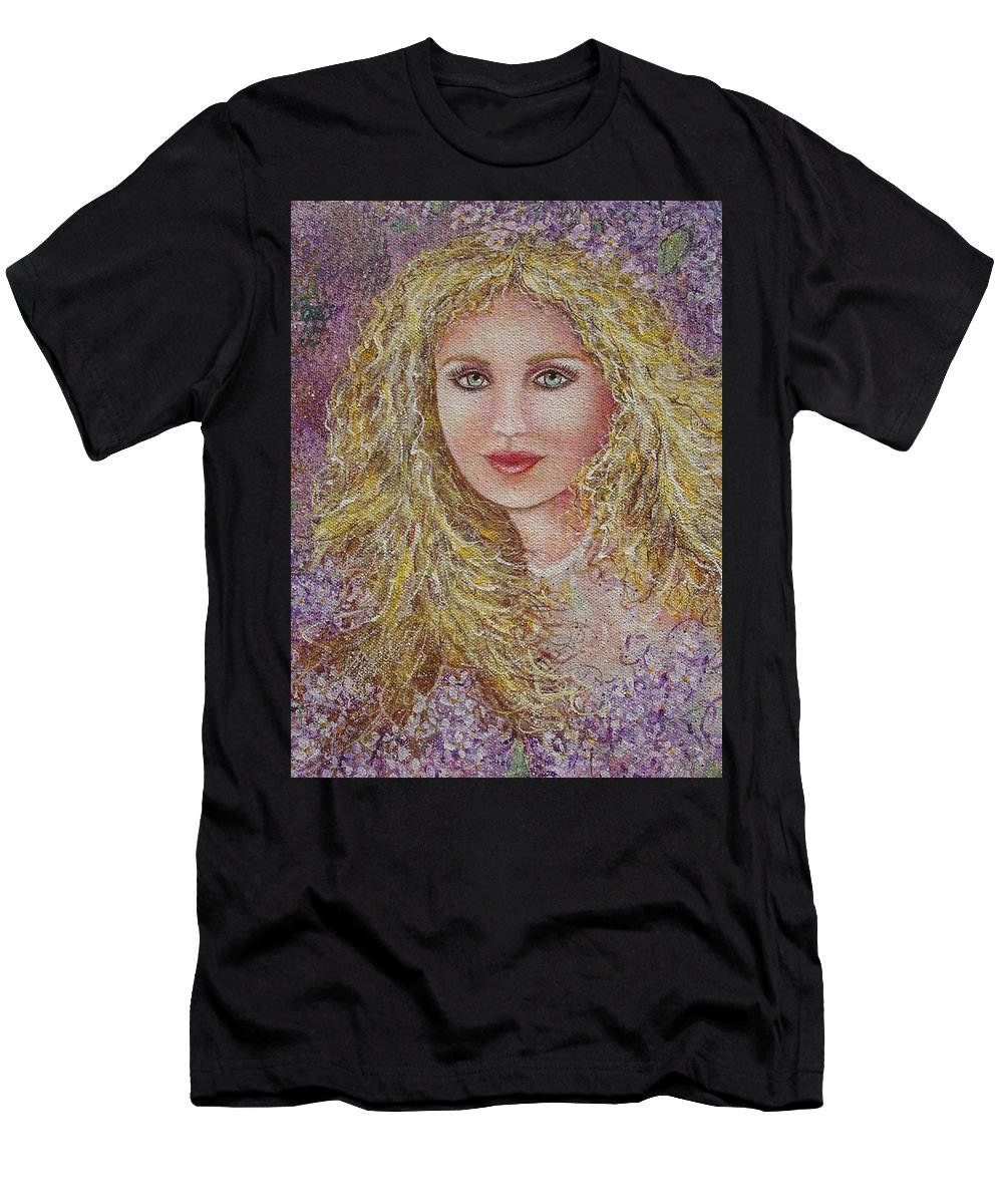 Portrait Men's T-Shirt (Athletic Fit) featuring the painting Natalie In Lilacs by Natalie Holland