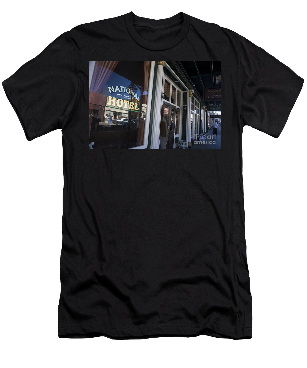 Travel Men's T-Shirt (Athletic Fit) featuring the photograph National Hotel Nevada City California by Jason O Watson
