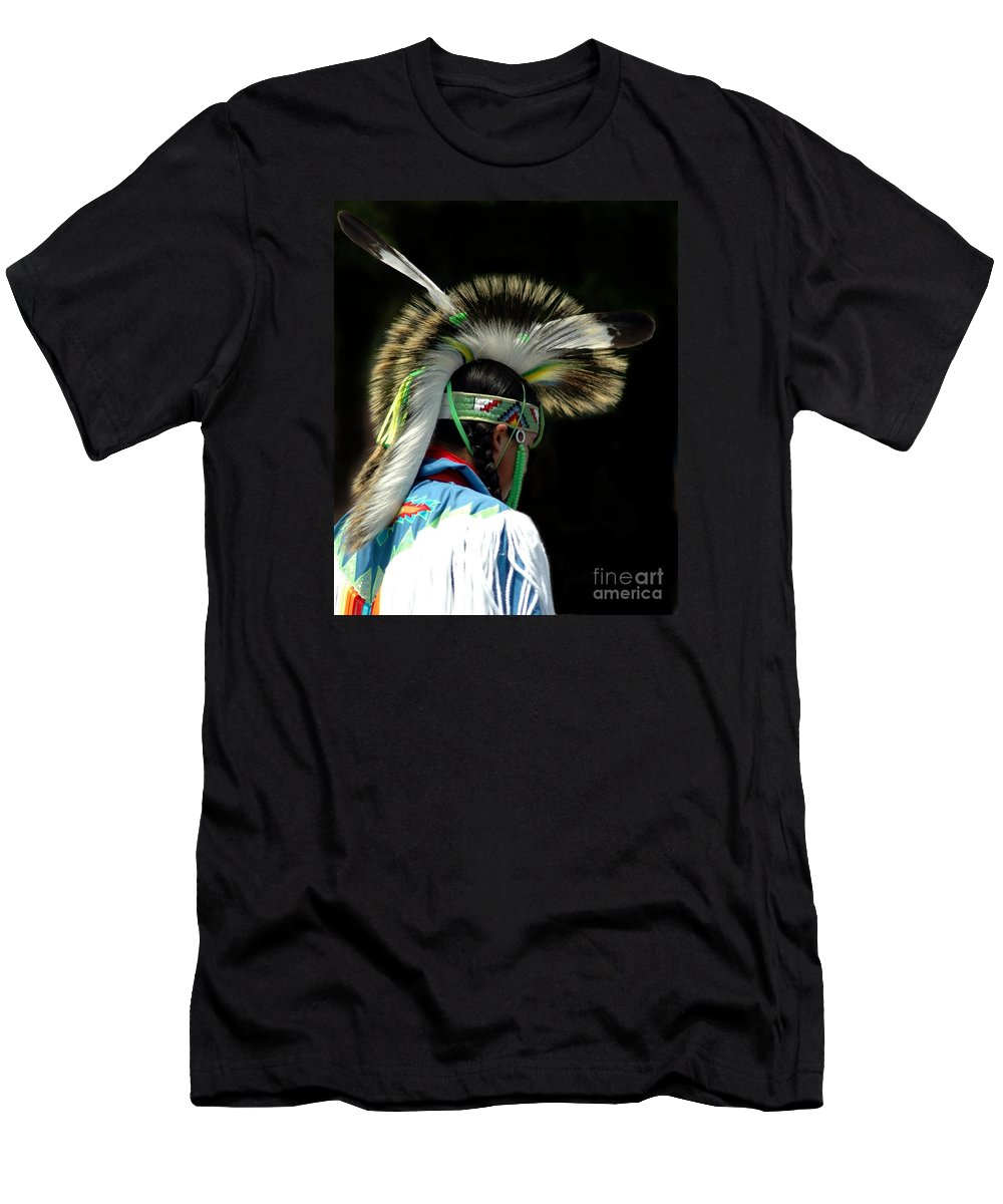 #native #american Men's T-Shirt (Athletic Fit) featuring the photograph Native American Boy by Kathleen Struckle