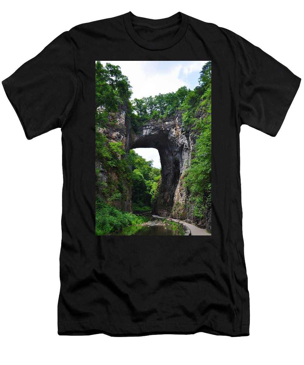 Natural Men's T-Shirt (Athletic Fit) featuring the photograph Natural Bridge In Rockbridge County Virginia by Bill Cannon