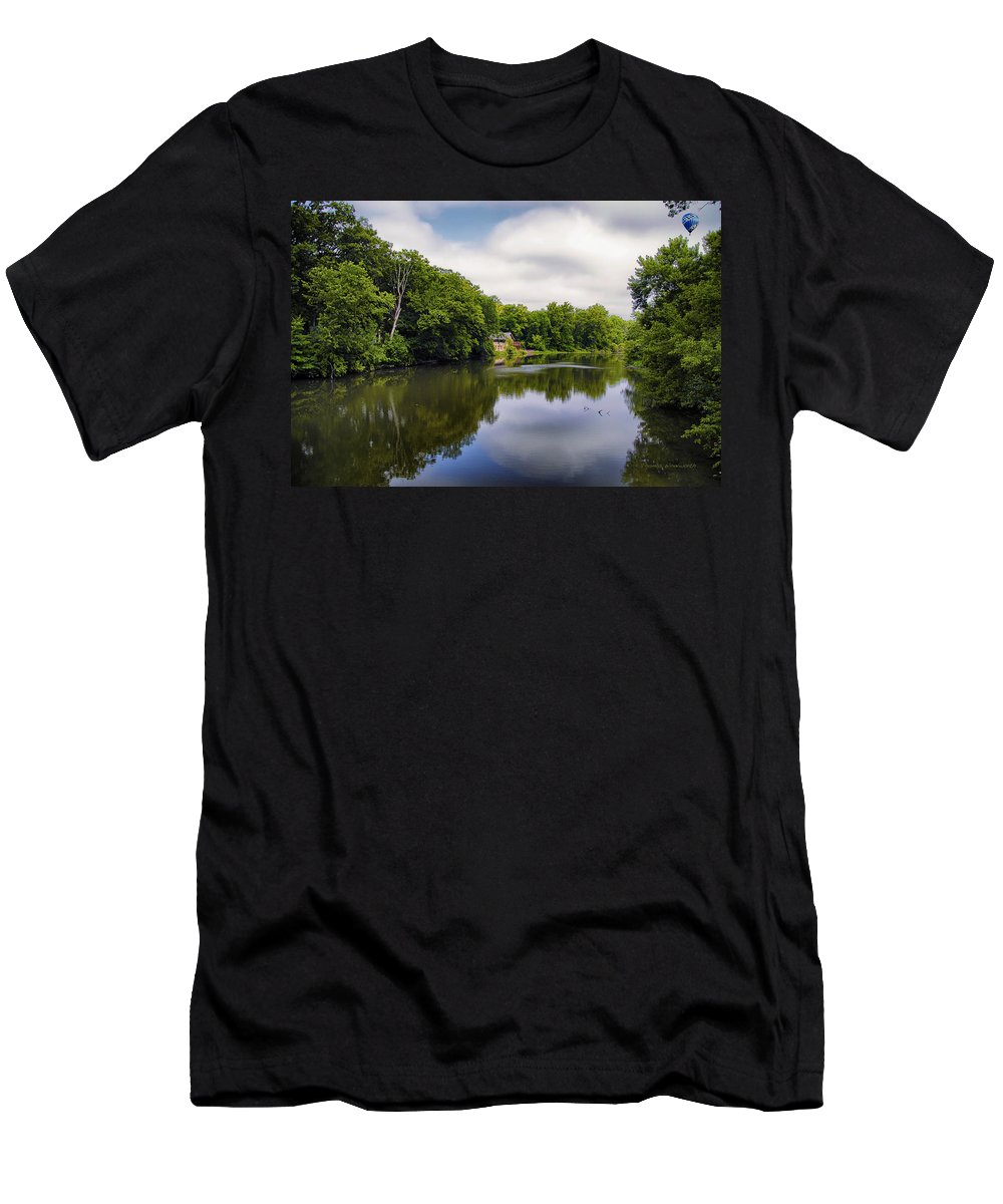 Marsh Men's T-Shirt (Athletic Fit) featuring the photograph Nature Center On Salt Creek by Thomas Woolworth