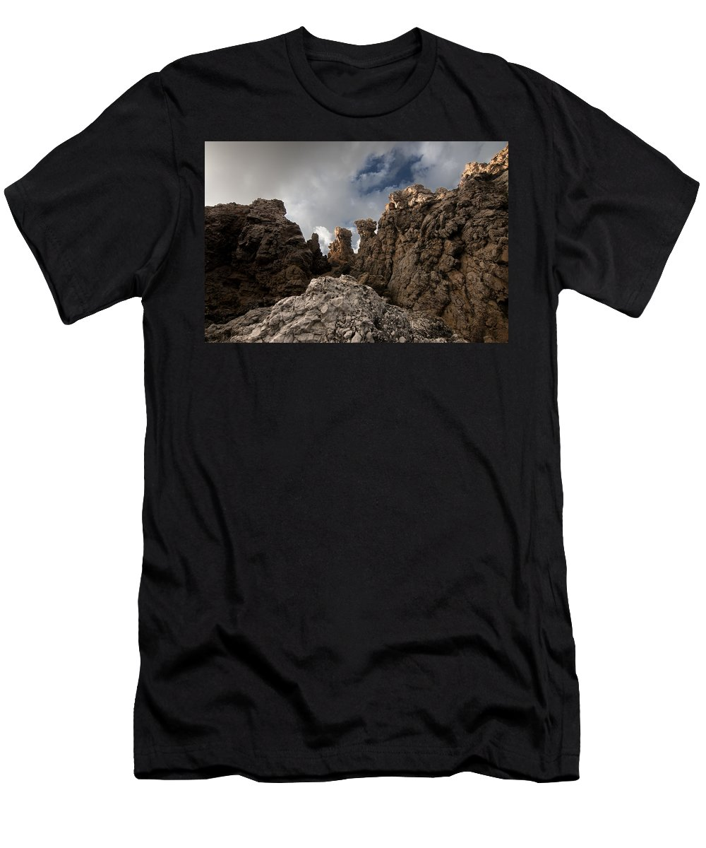 Autumn Men's T-Shirt (Athletic Fit) featuring the photograph A Stunning Rock Wall Becomes A Wild Nature Sculpture In North Coast Of Minorca Europe by Pedro Cardona Llambias