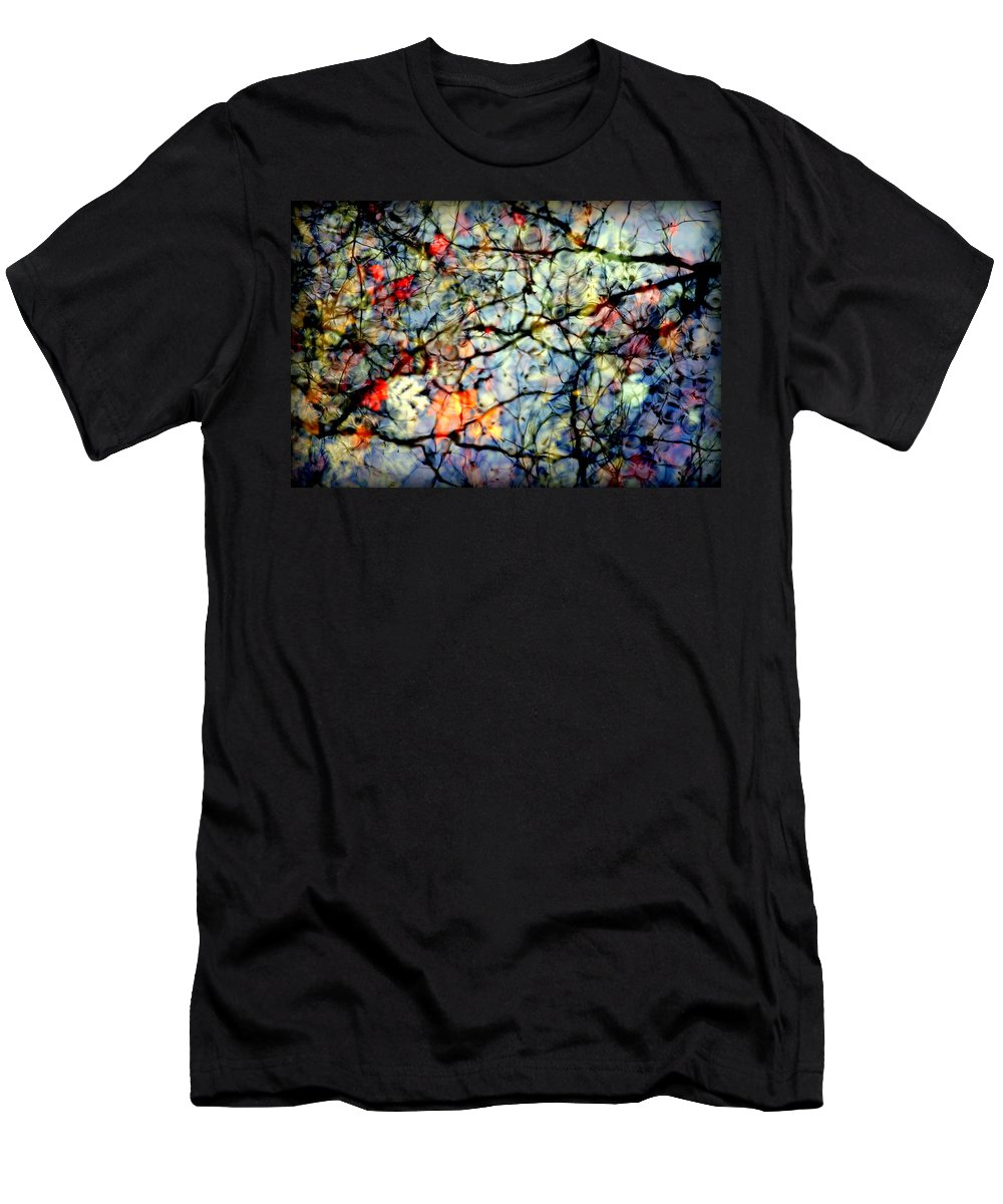 Nature Abstracts Men's T-Shirt (Athletic Fit) featuring the photograph Natures Stained Glass by Karen Wiles