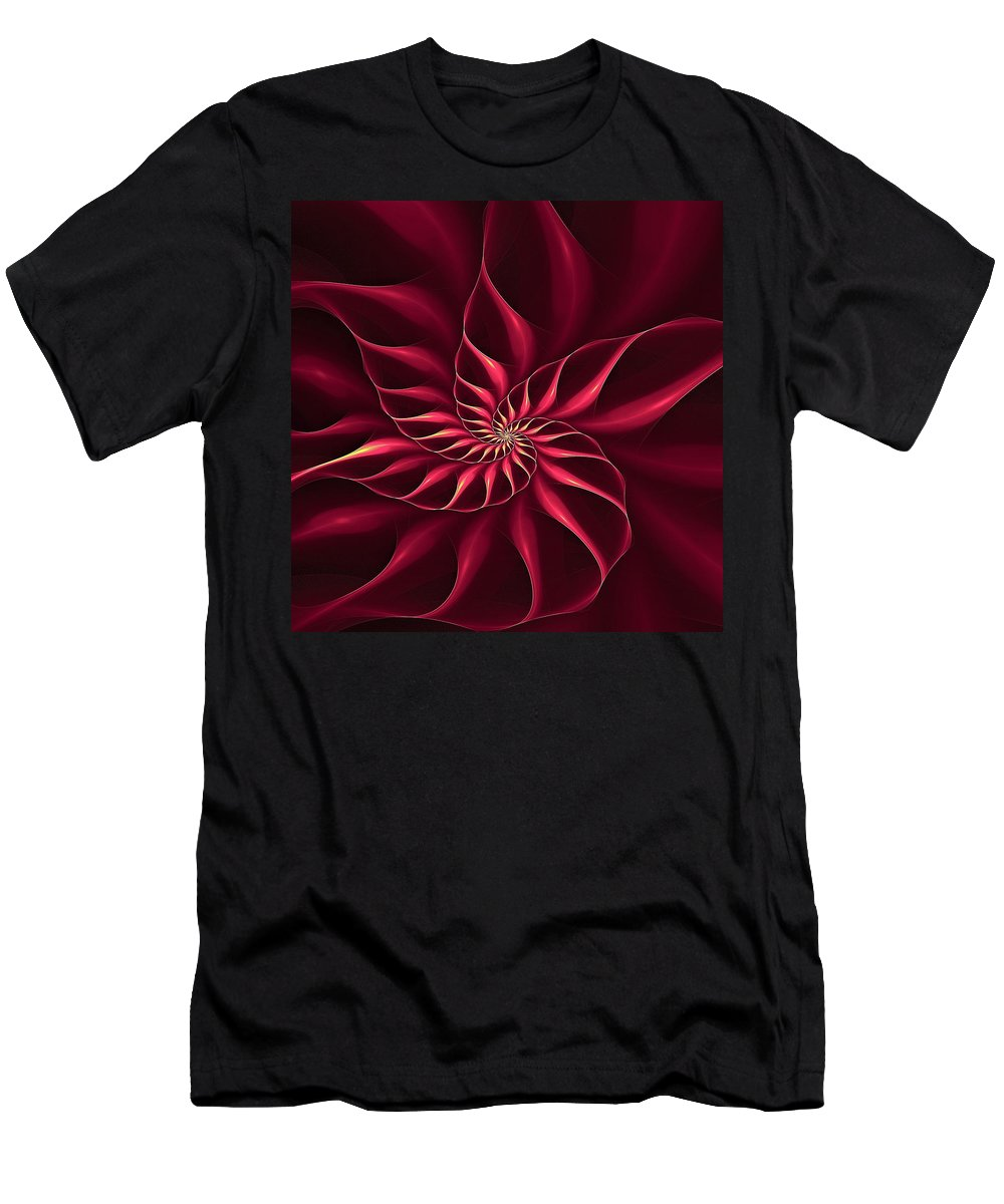 Flower Men's T-Shirt (Athletic Fit) featuring the digital art Nautilus Fractalus Magenta And Yellow by Doug Morgan