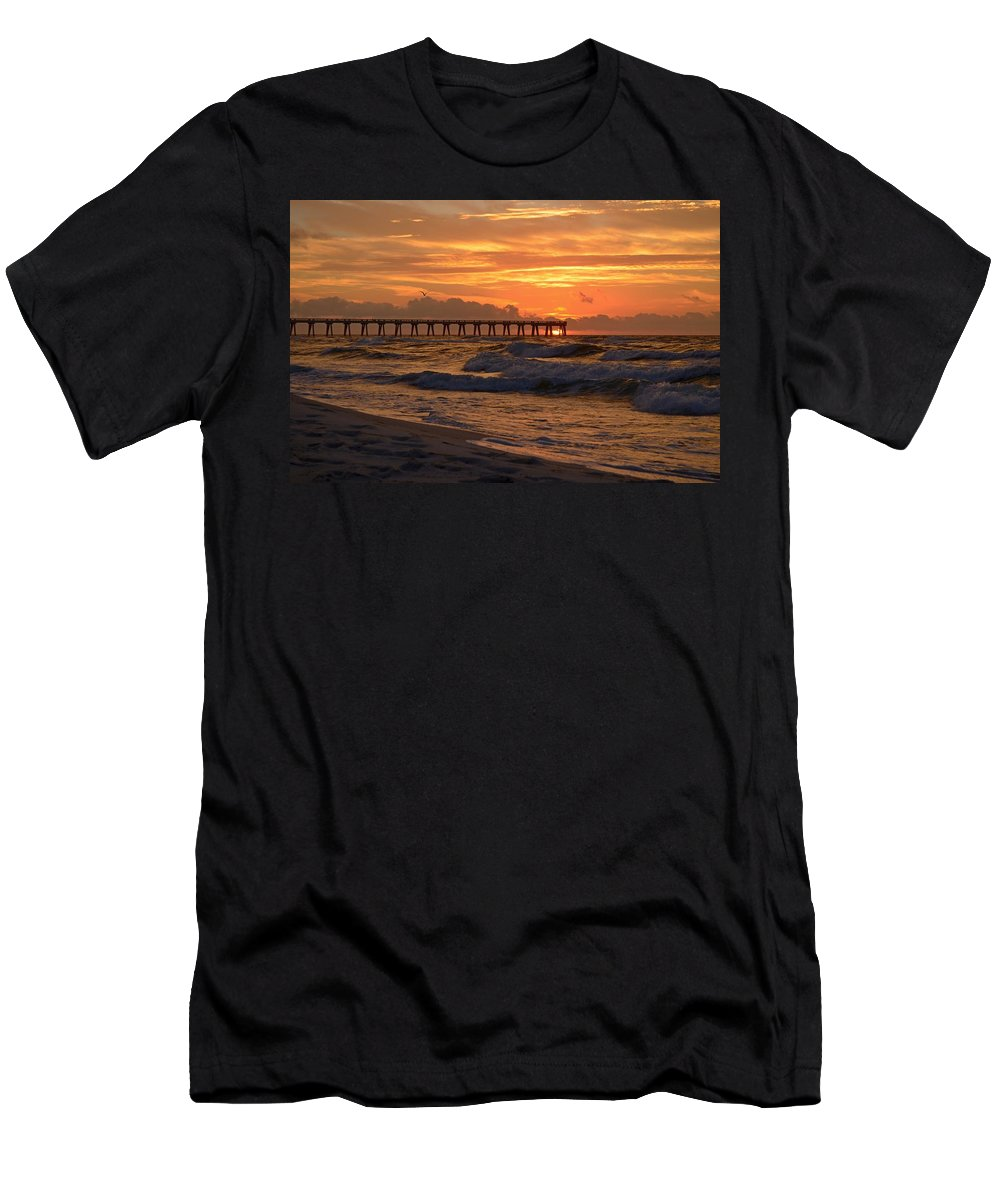 Navarre Pier Men's T-Shirt (Athletic Fit) featuring the photograph Navarre Pier At Sunrise With Waves by Jeff at JSJ Photography