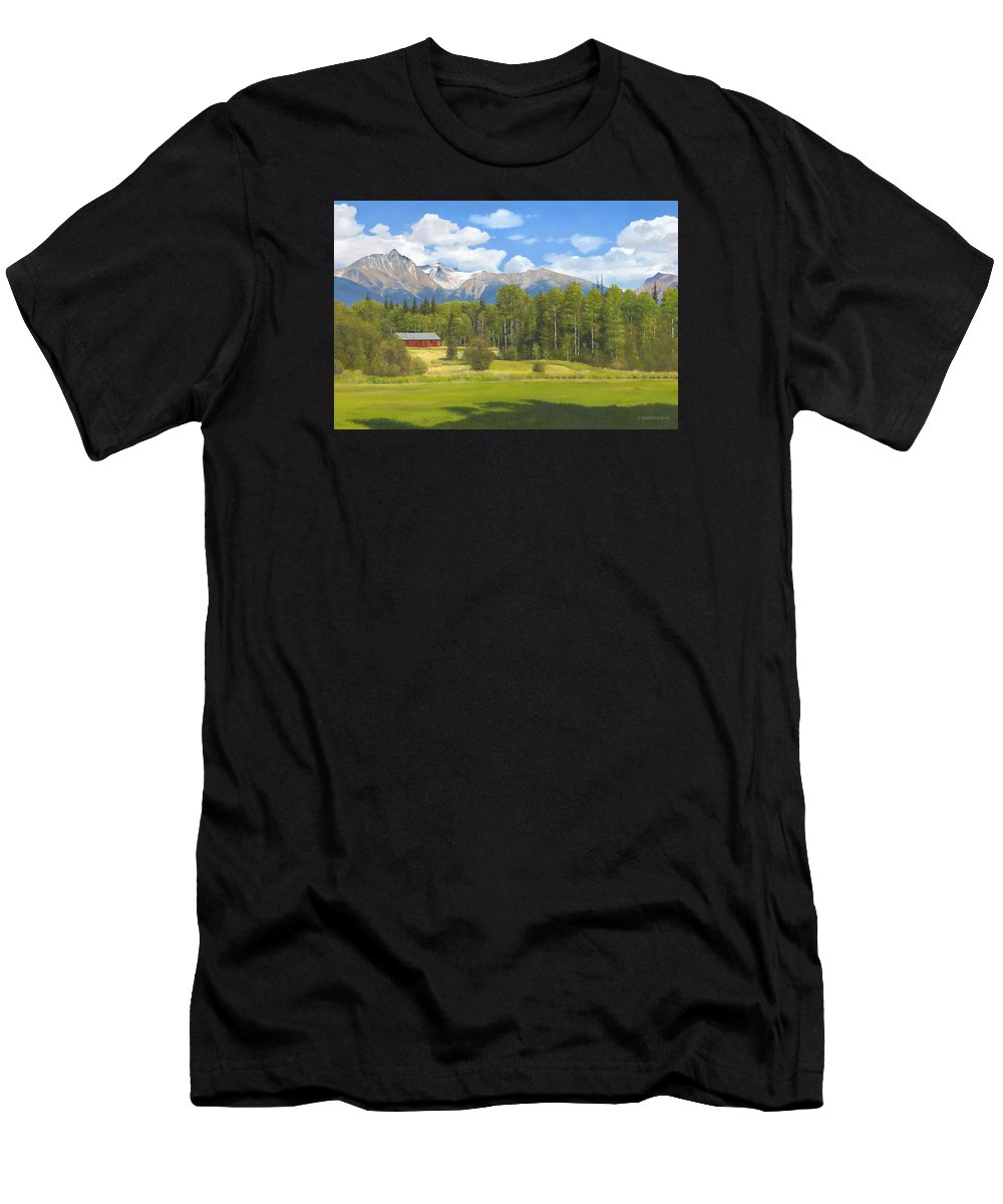 Landscape Men's T-Shirt (Athletic Fit) featuring the painting Near Kispiox by James Robertson