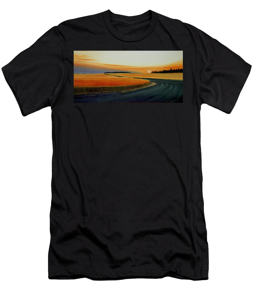 Wheat Men's T-Shirt (Athletic Fit) featuring the painting Near Moscow by Leonard Heid