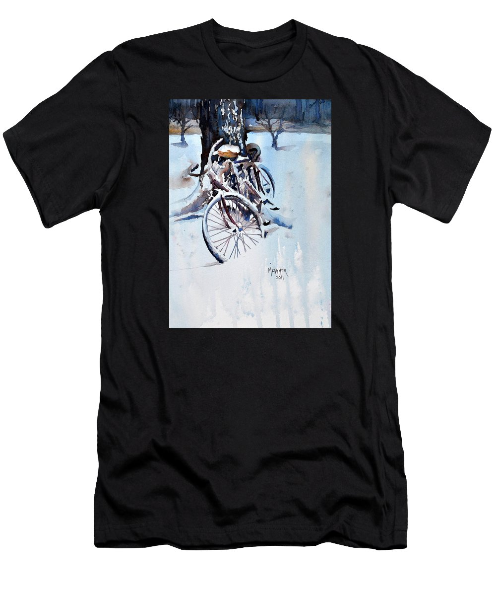 Snow Men's T-Shirt (Athletic Fit) featuring the painting Neglected by Spencer Meagher