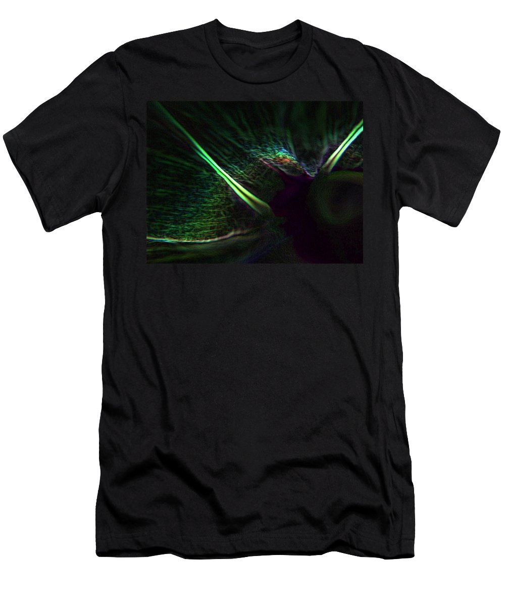 Black Men's T-Shirt (Athletic Fit) featuring the digital art Neon In The Dark by Tera Michaels