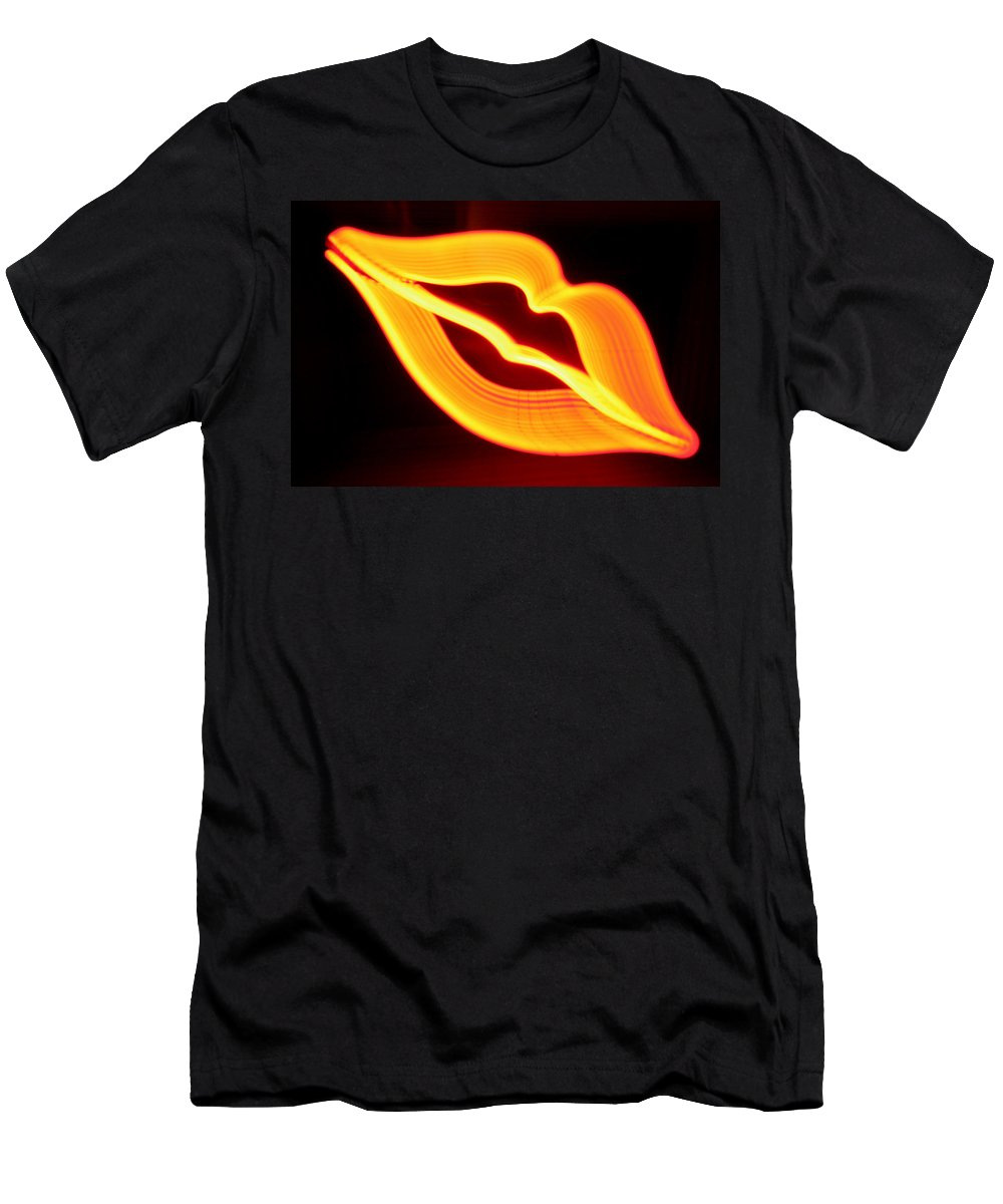 Decorator Art Men's T-Shirt (Athletic Fit) featuring the photograph Neon Lips by Ric Bascobert
