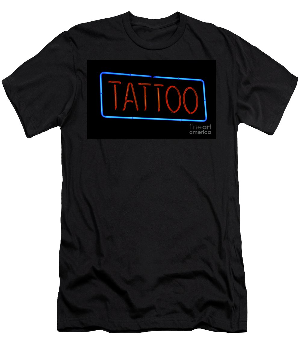 Sign Men's T-Shirt (Athletic Fit) featuring the photograph Neon Tattoo Sign by Phil Cardamone