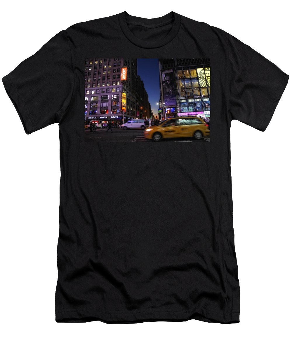 New York City Men's T-Shirt (Athletic Fit) featuring the photograph Never Sleeps by Donna Blackhall